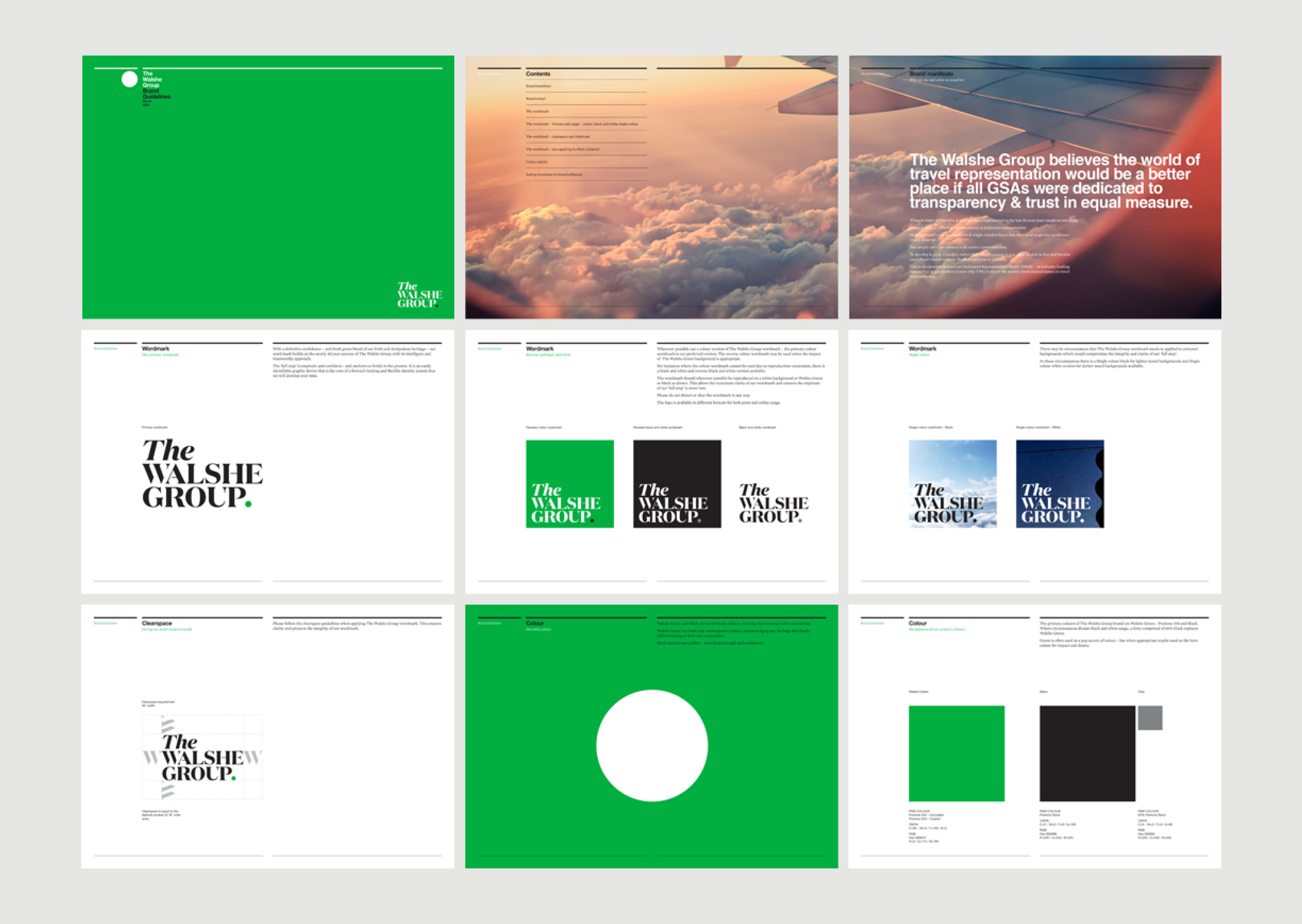 The Walshe Group Brand Guidelines – showing identity and colour usage