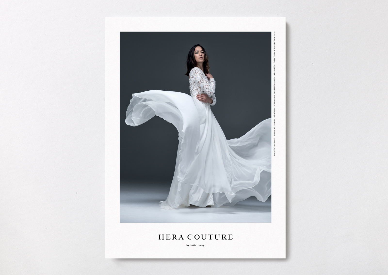 Hera Couture brand postcard – shows confident bride in dramatic flowing gown