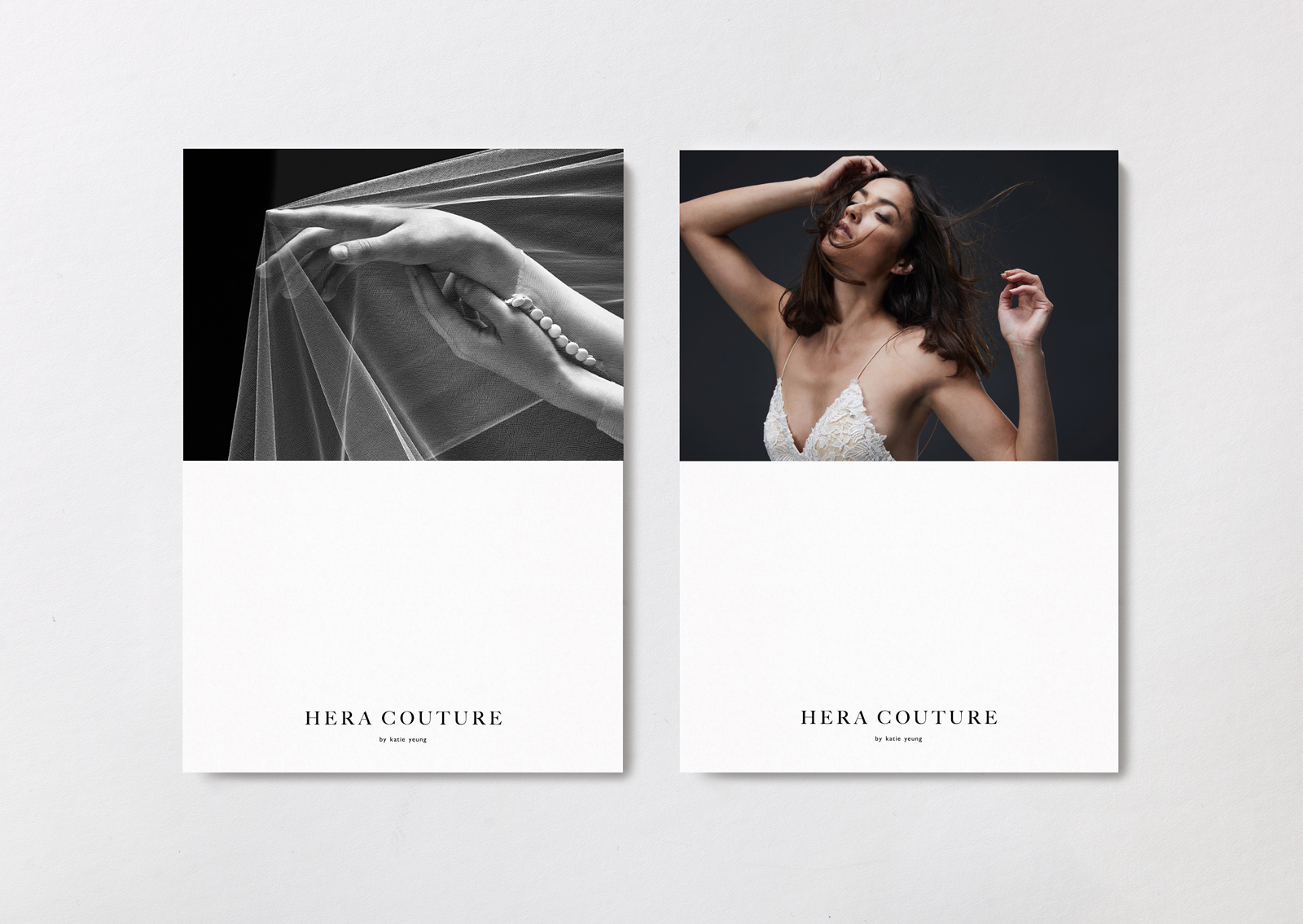 Hera Couture brand postcards – show close up of bride and intricate button and lace details