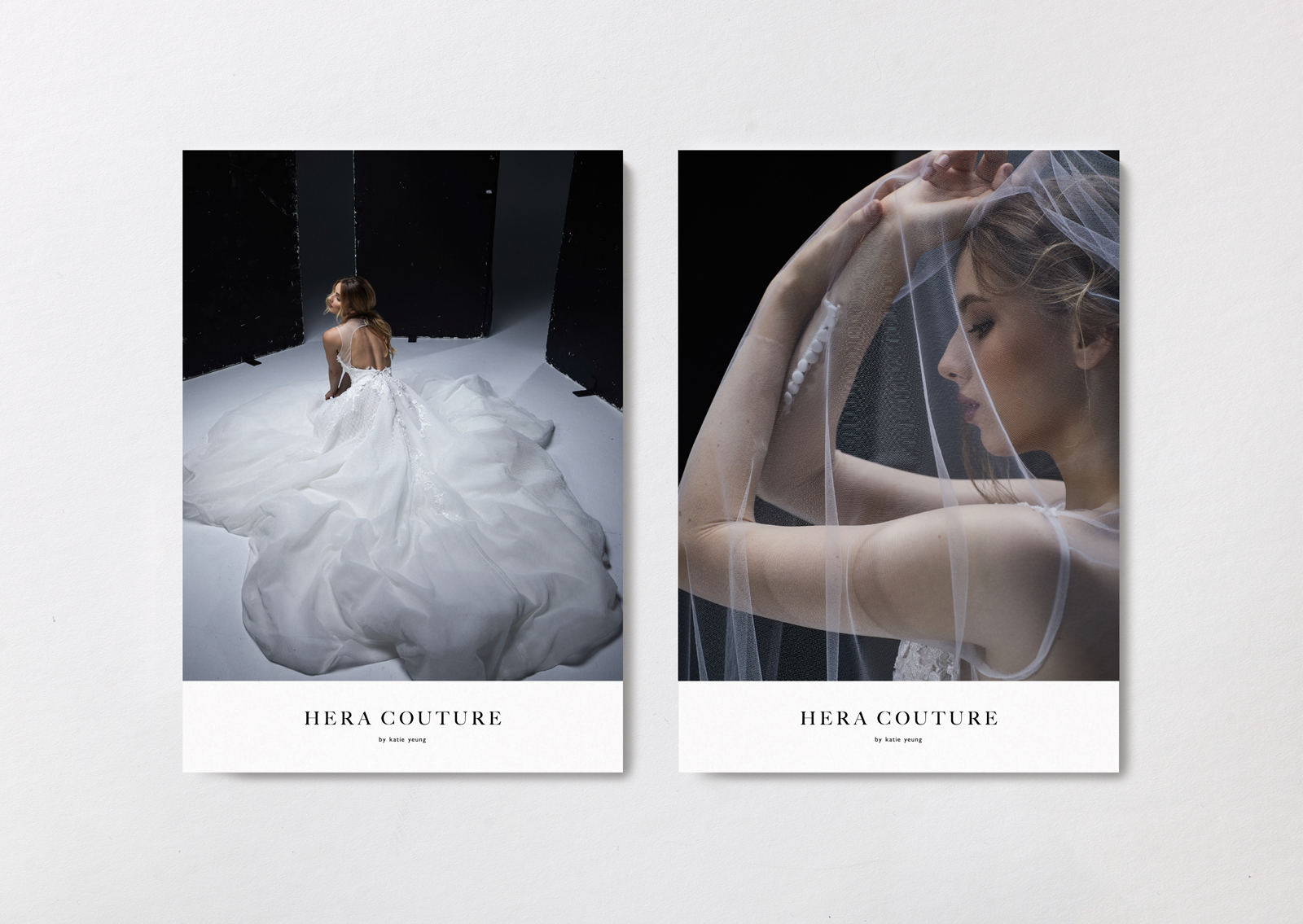 Hera Couture brand postcards – show dramatic gown silhouettes and intricate details