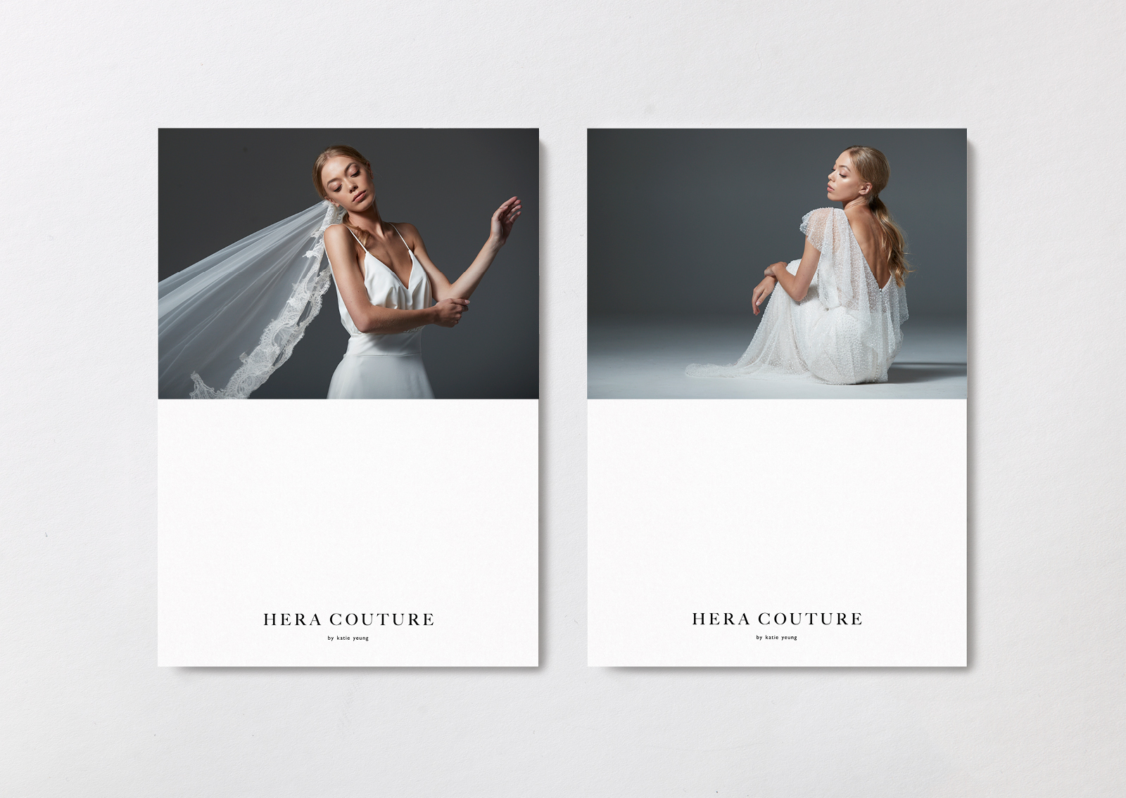 Hera Couture brand postcards – feature flowing lace veil and elegant gowns