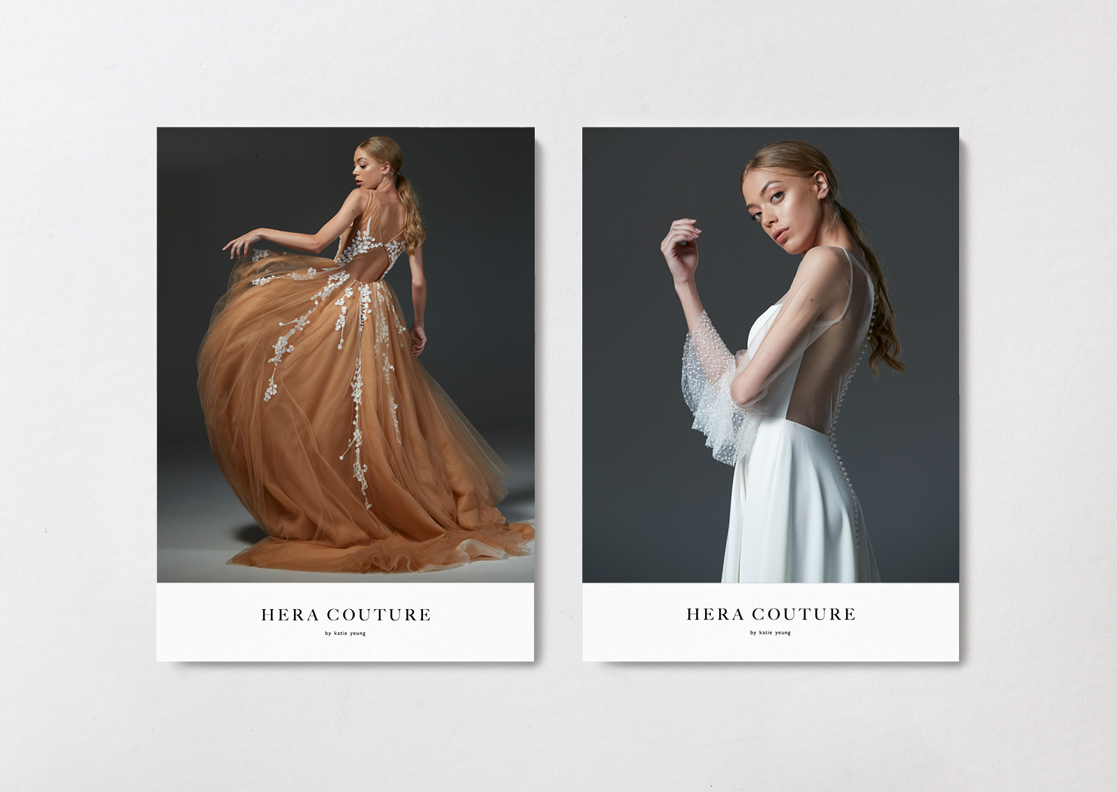 Hera Couture brand postcards show dramatic gown silhouettes and intricate details