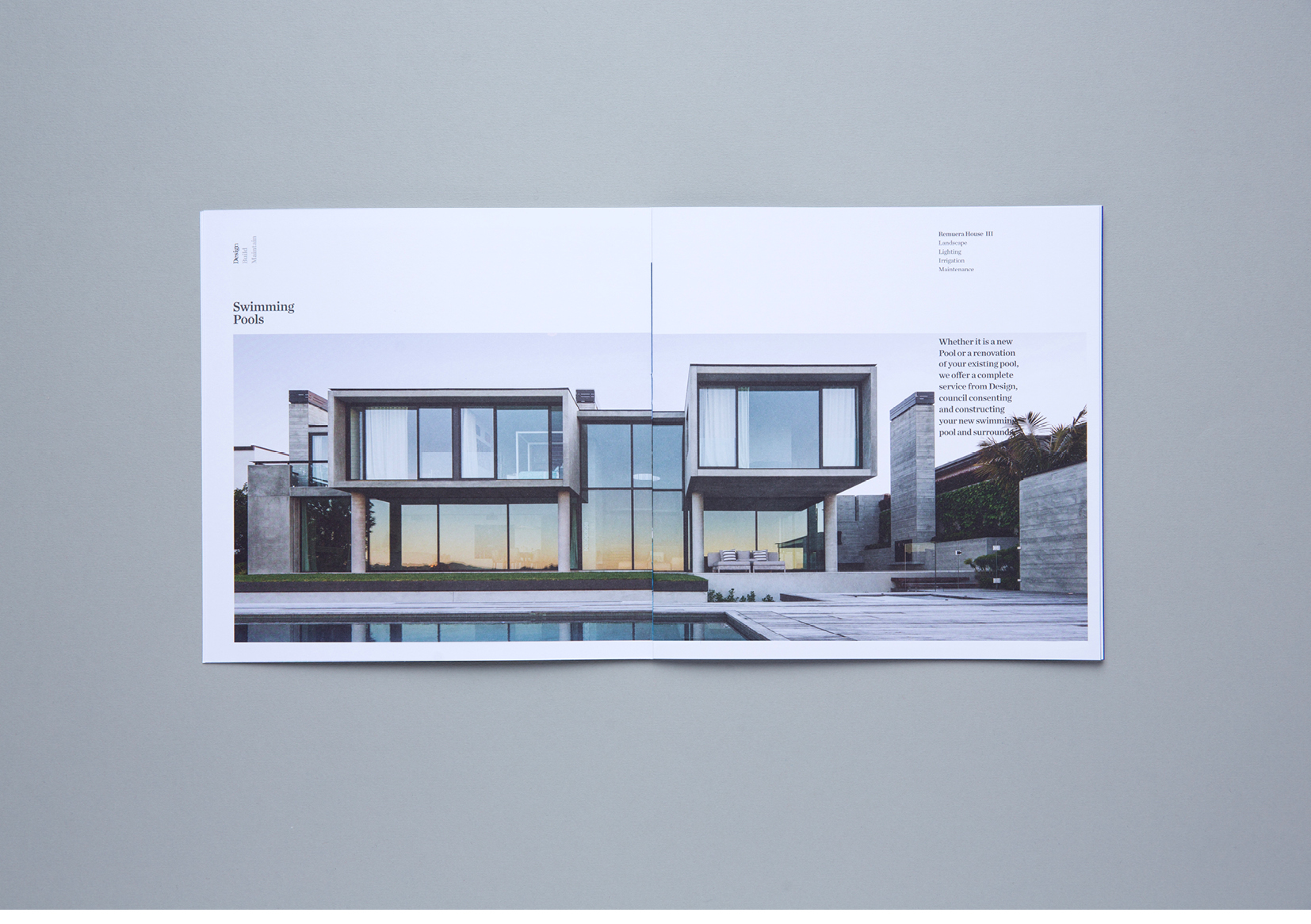 Humphreys Landscaping Brochure – spread showing dramatic modernist home and garden
