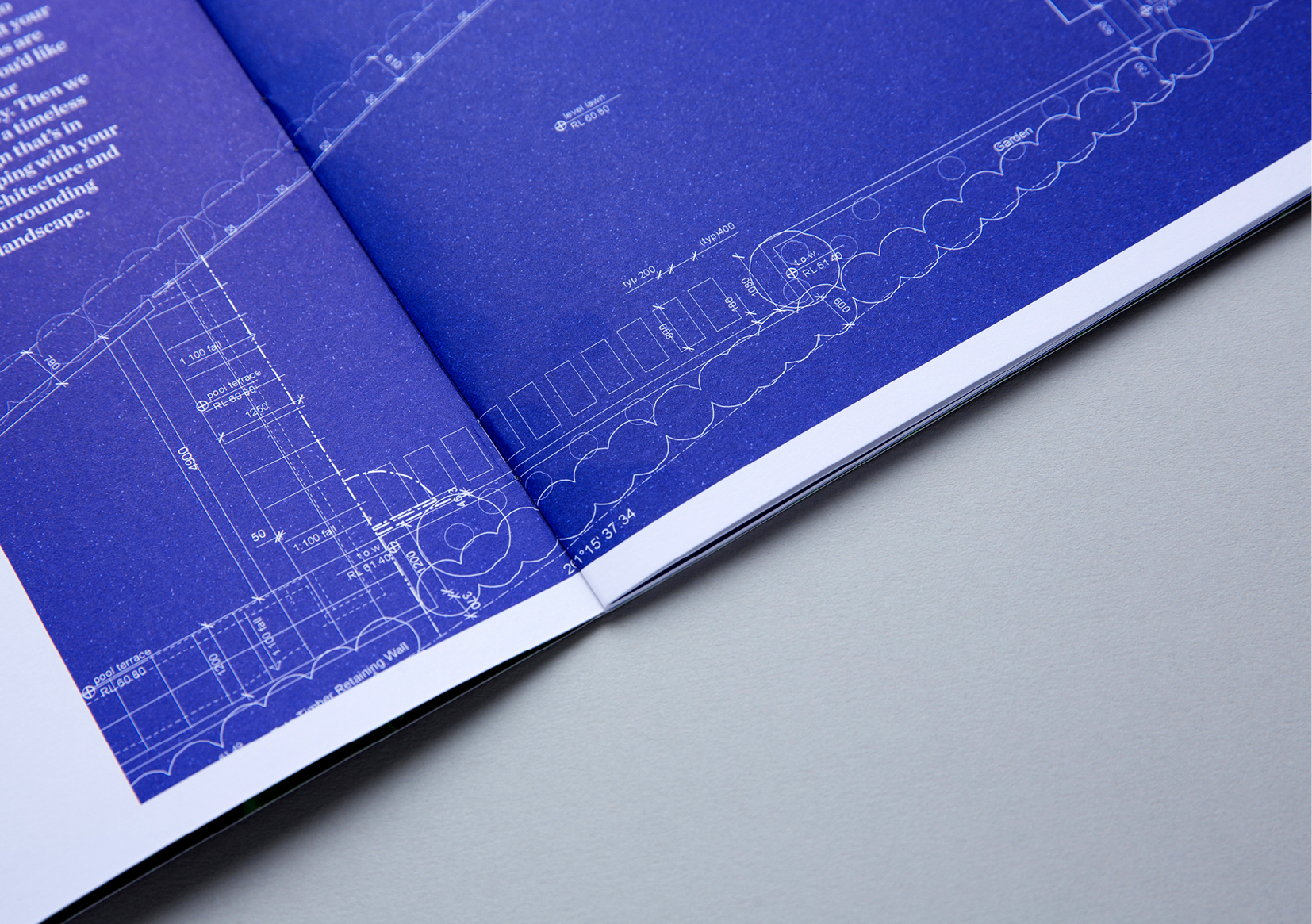 Humphreys Landscaping Brochure – close up view of design blueprint