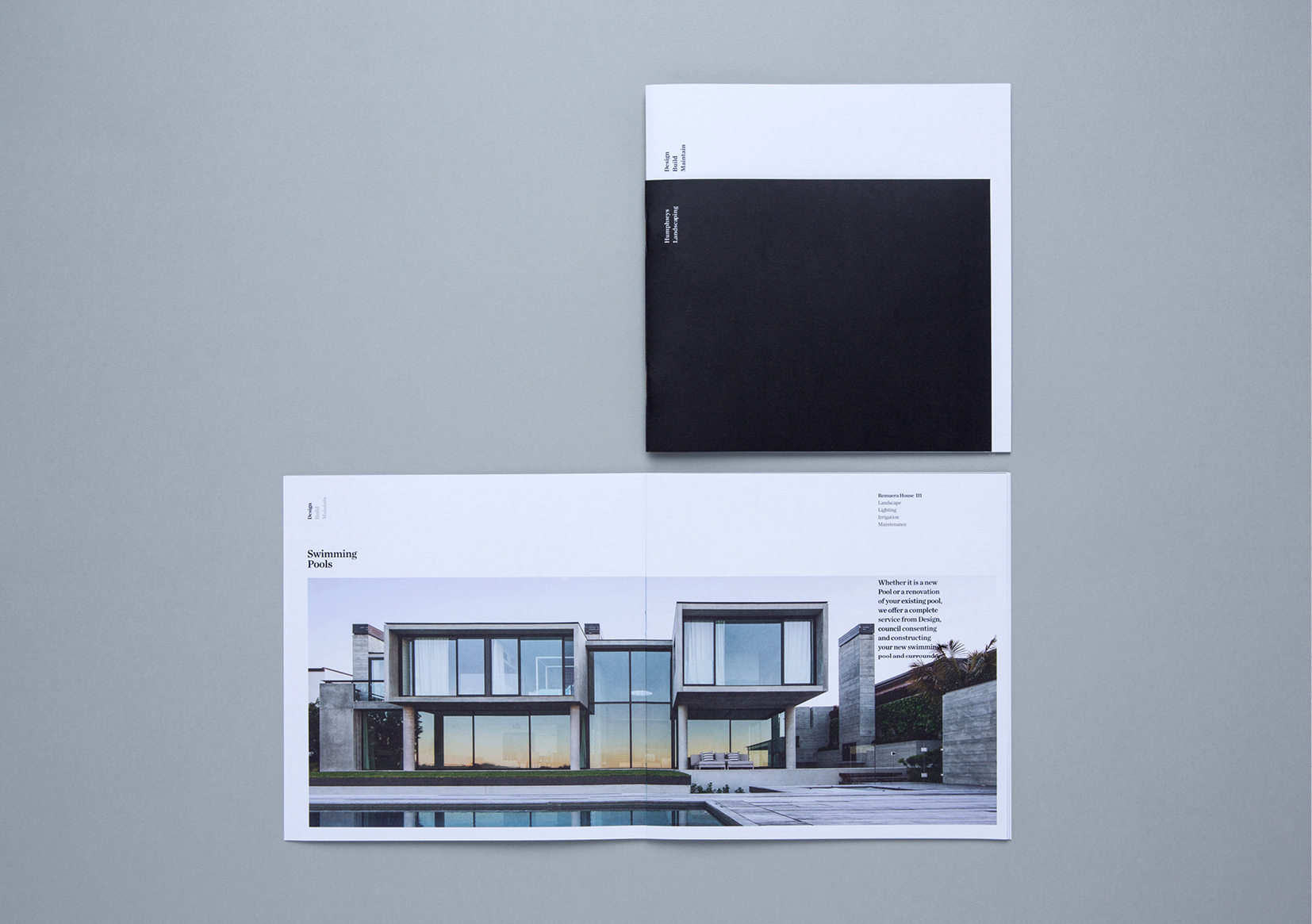 Humphreys Landscaping Brochure – black and white cover and spread showing modernist home and garden
