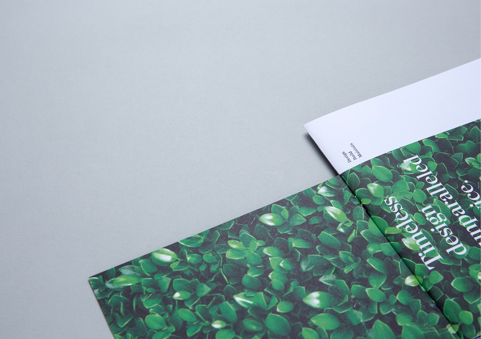 Humphreys Landscaping Brochure – close up view of inside front cover showing lush hedge