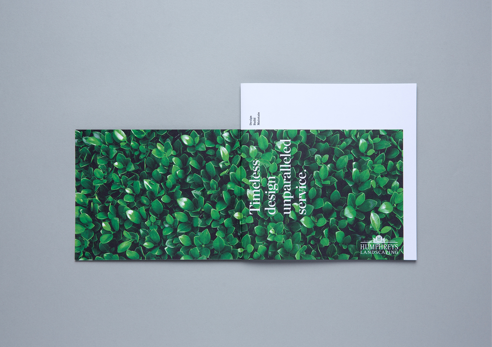 Humphreys Landscaping Brochure – spread showing open front cover featuring lush hedge