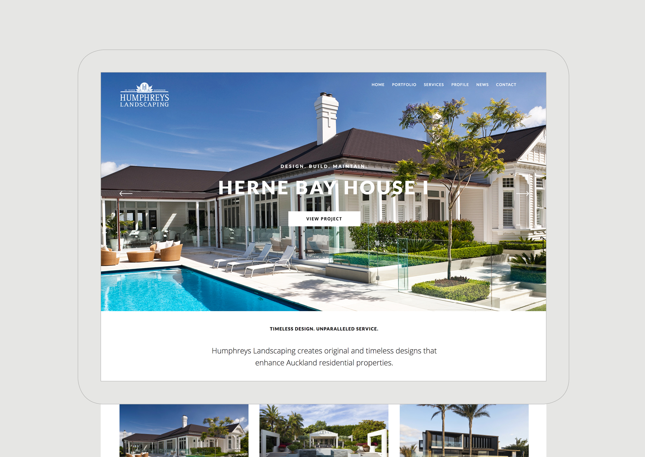 Humphreys Landscaping Website Portfolio Individual page featuring impressive Classic Villa House and smaller gallery detailing