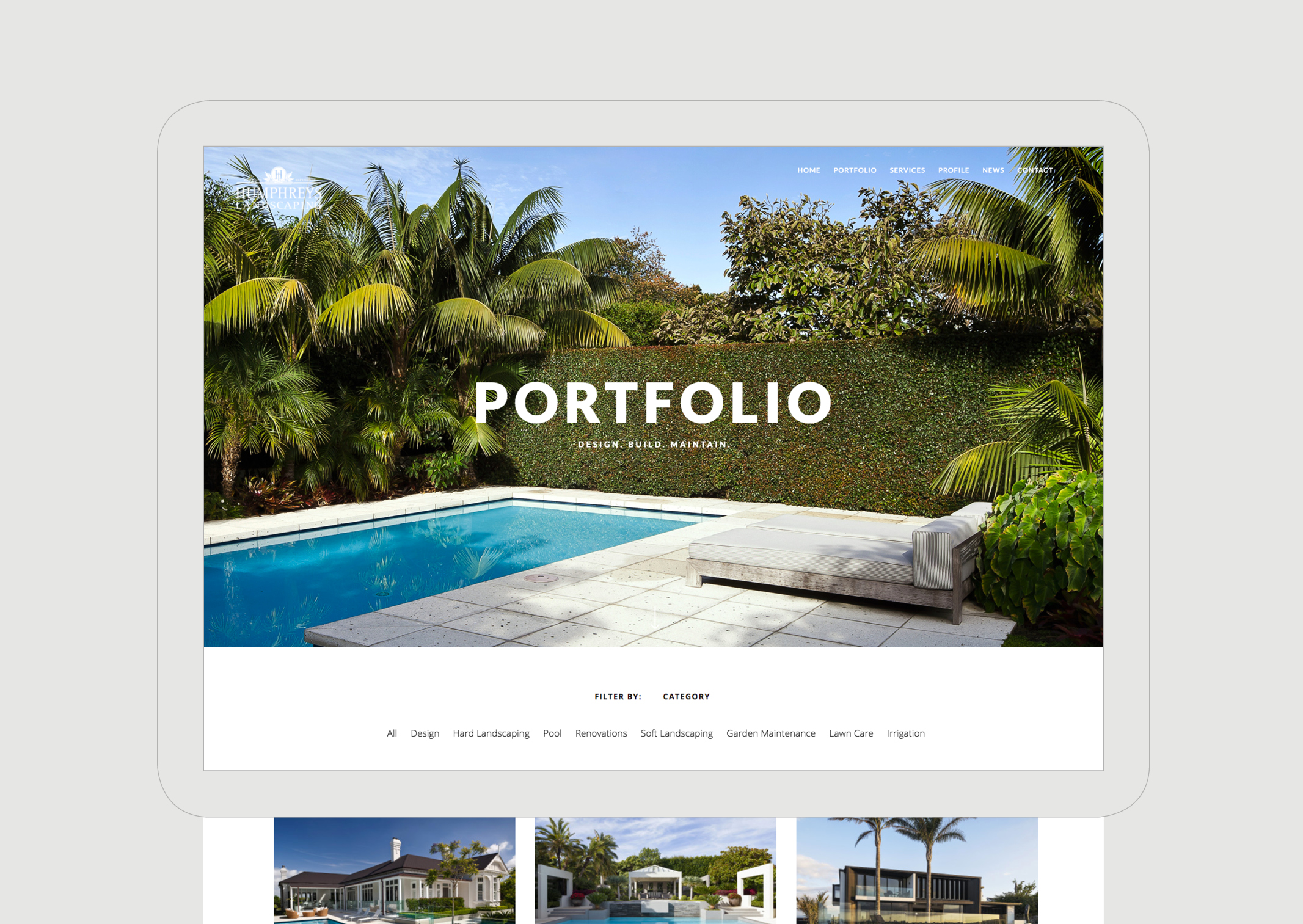 Humphreys Landscaping Website Portfolio main page showing pool and trimmed hedge and palms