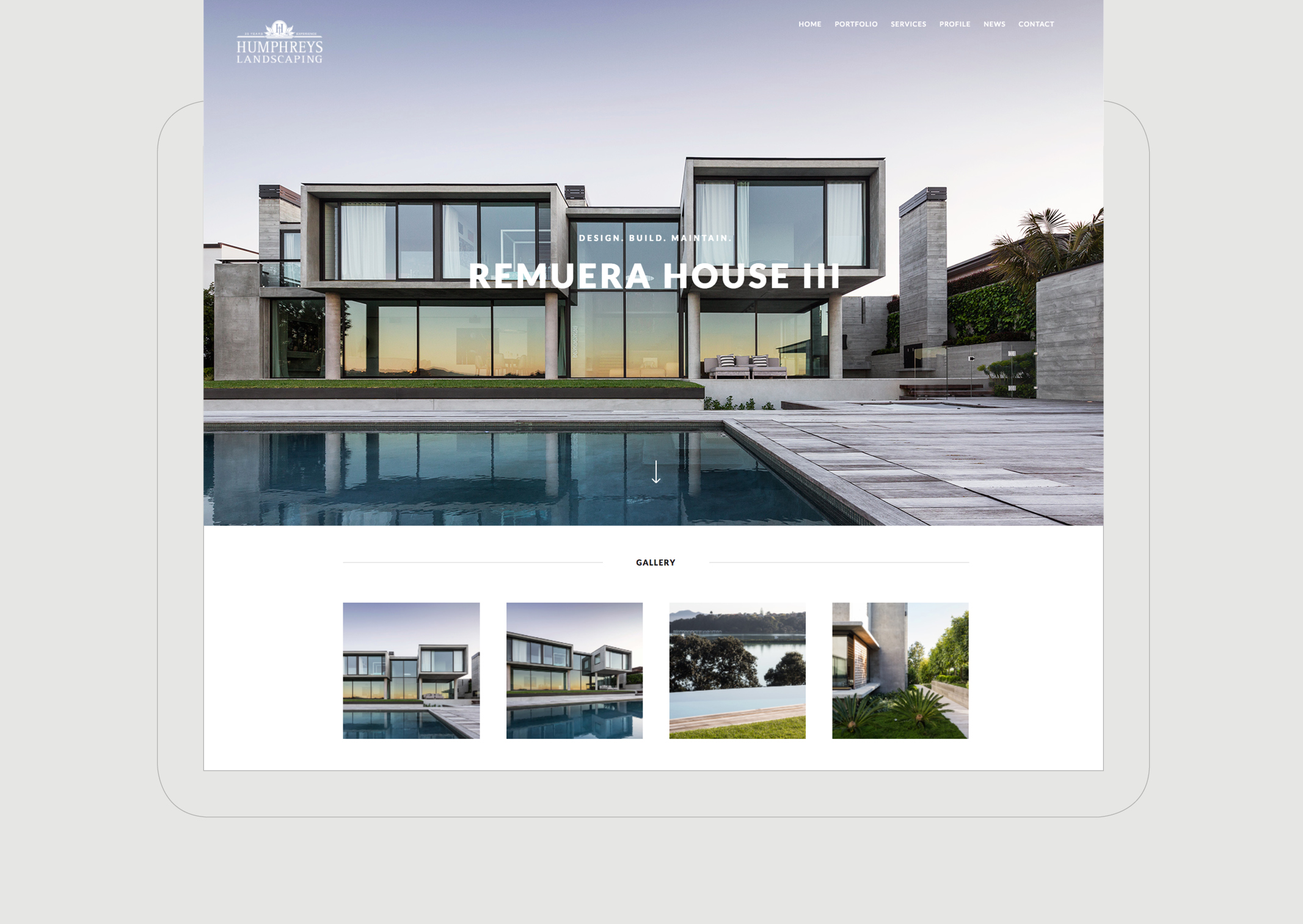 Humphreys Landscaping Website Portfolio Individual page featuring Remuera modernist house and smaller gallery detailing
