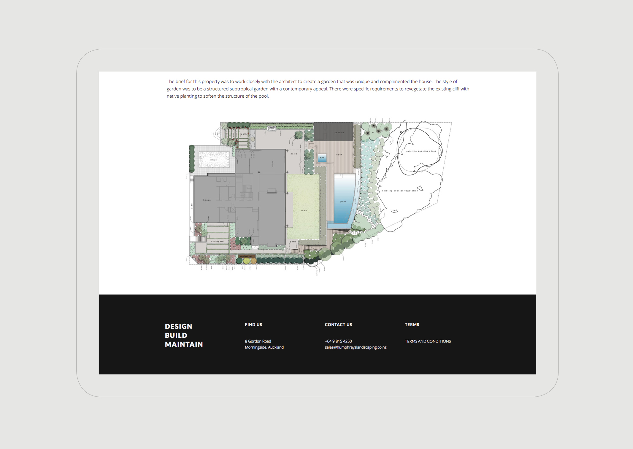 Humphreys Landscaping Website Portfolio page featuring detailed garden plan