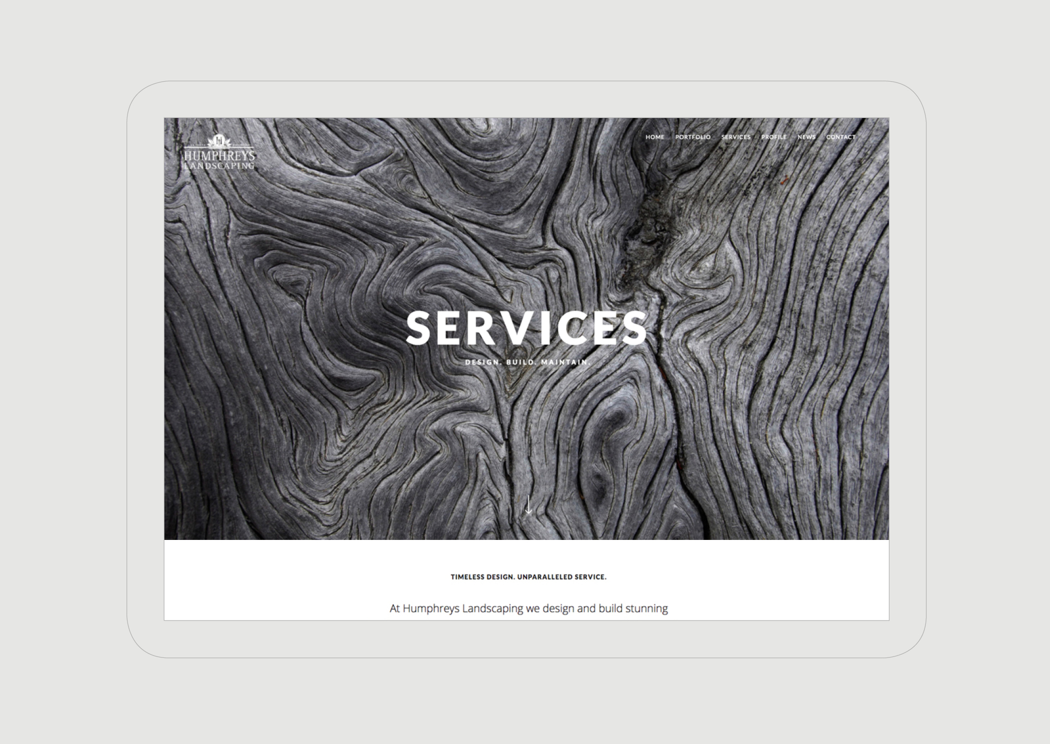 Humphreys Landscaping Website Services page featuring close up of wood knots