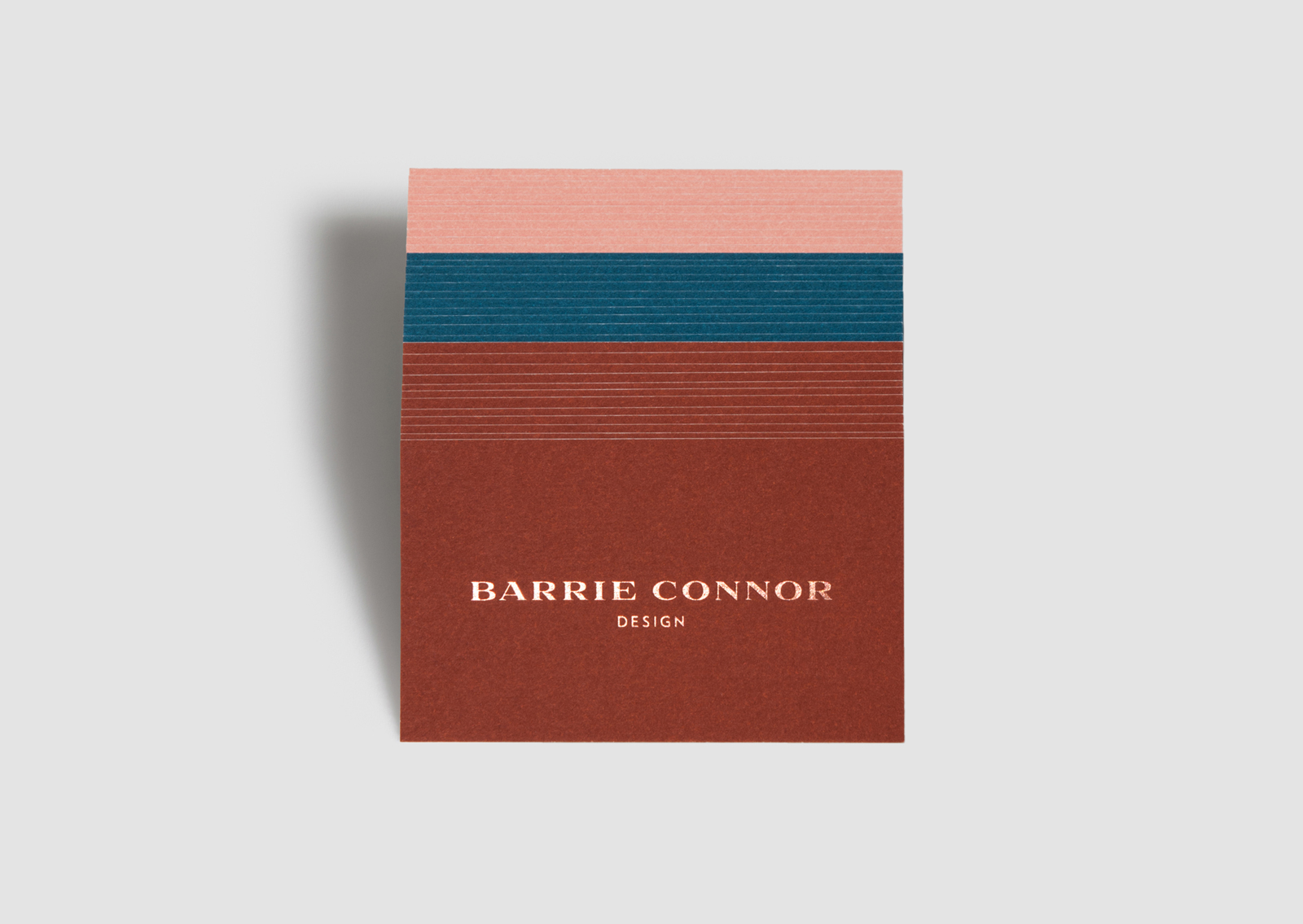 Barrie Connor Design buiness cards – trio of swatch cards in a stack