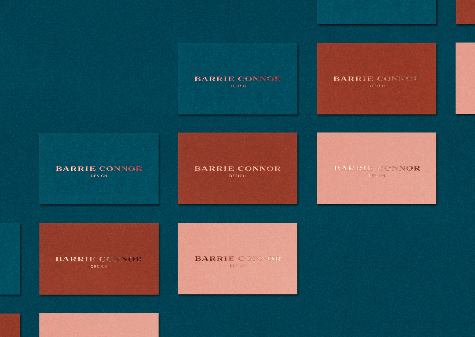 Barrie Connor business cards are created in 3 bespoke colours