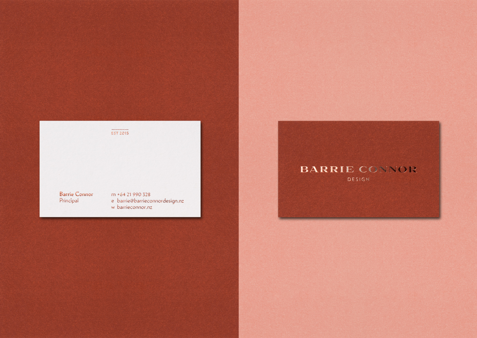 Minimal copper foil typography and Rich tan and blush pink contrast on the trio of Barrie Connor business cards