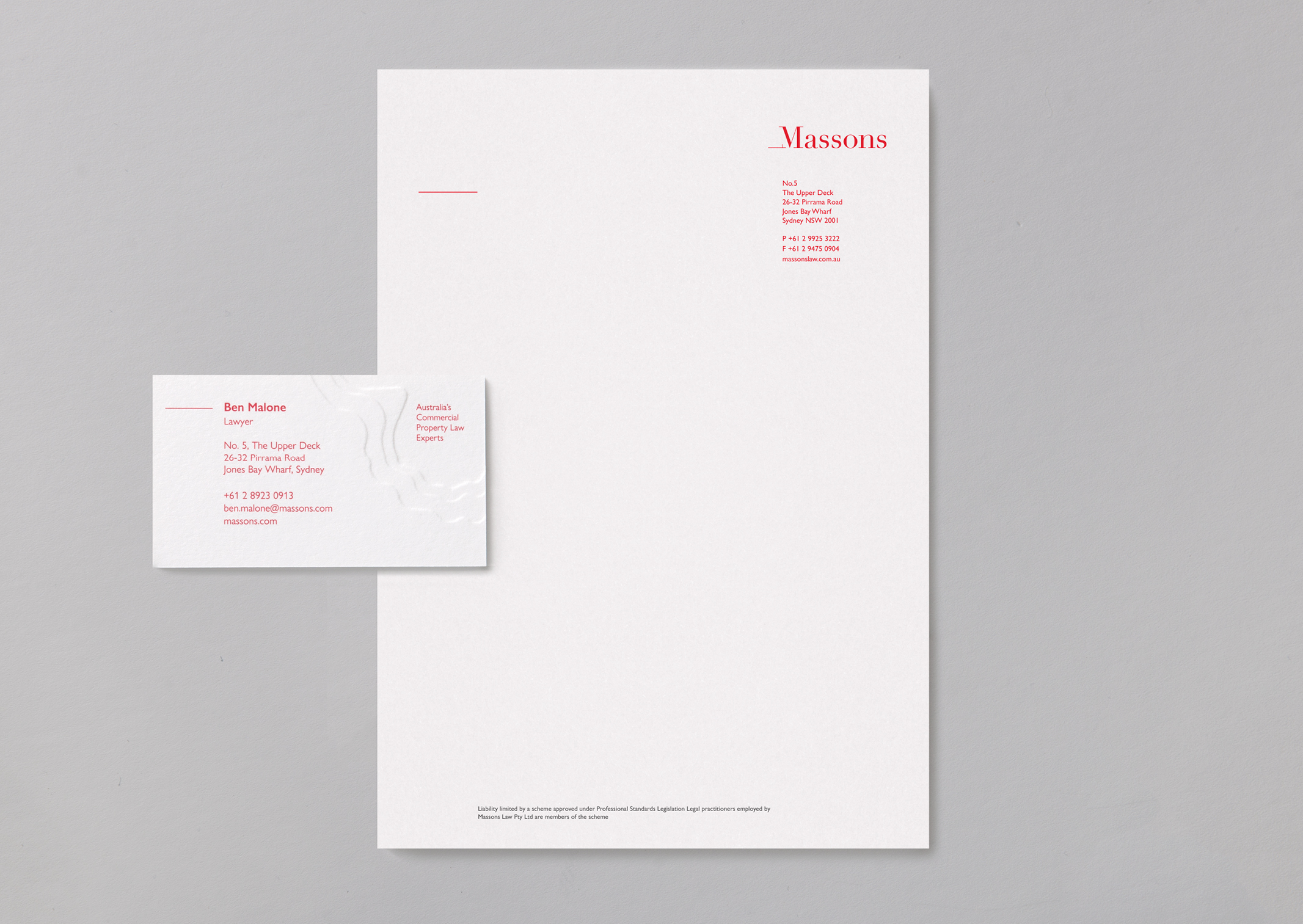 Massons business cards feature a deep topographic map emboss and matching letterhead