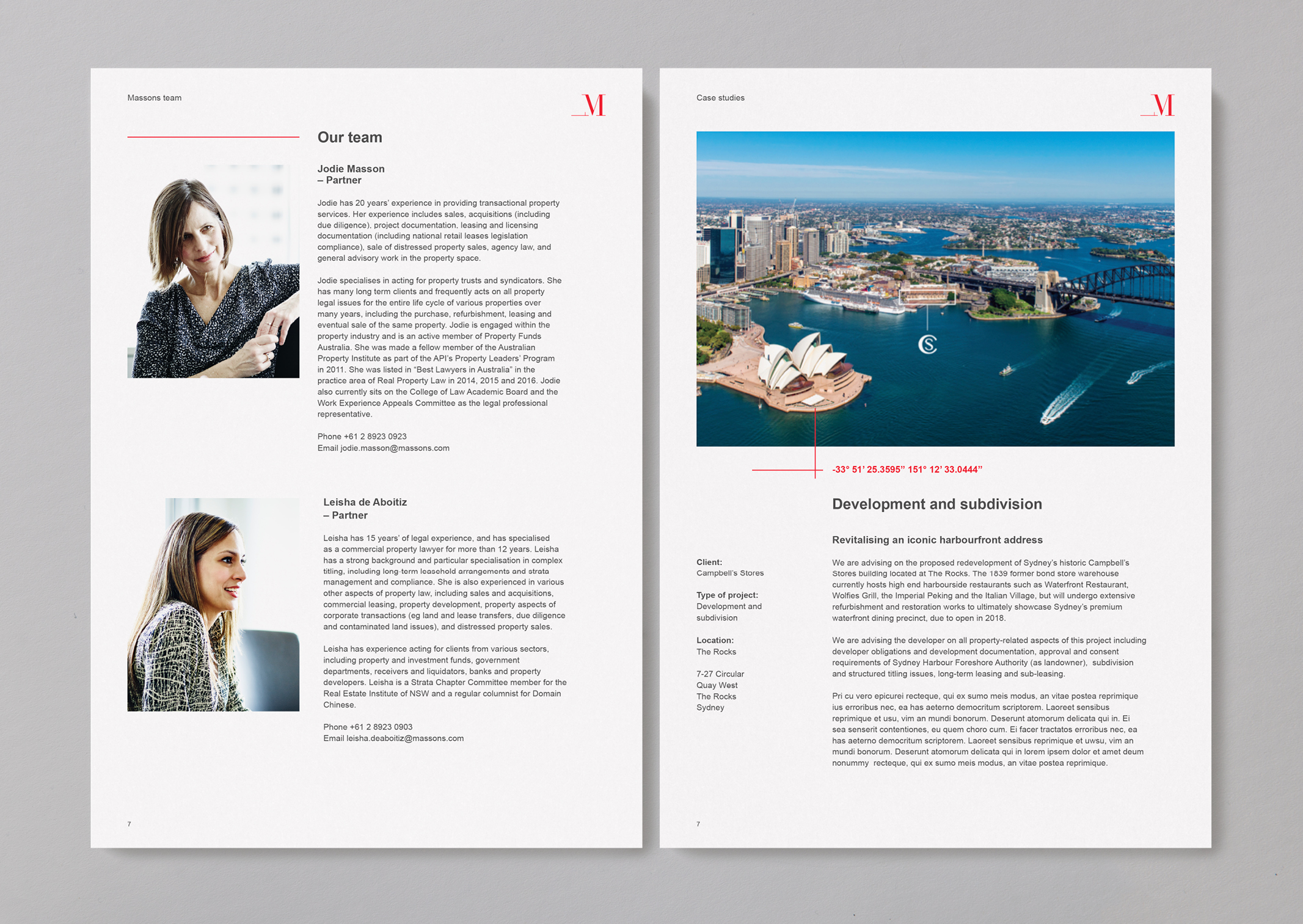 Massons Property Law document template spread featuring people and property