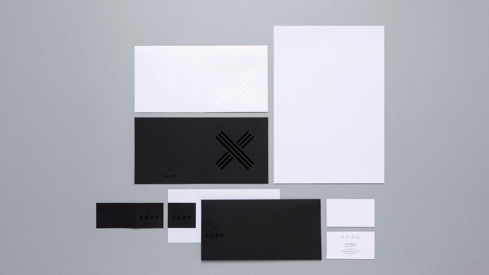 SOAP™ branding – black on black foil and white on white stationery set