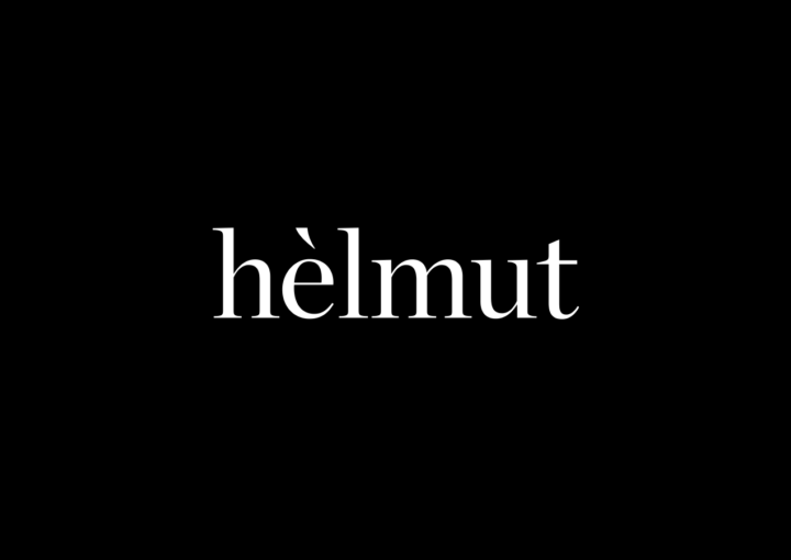 Helmut Salon – white on black elegant identity with accent flick