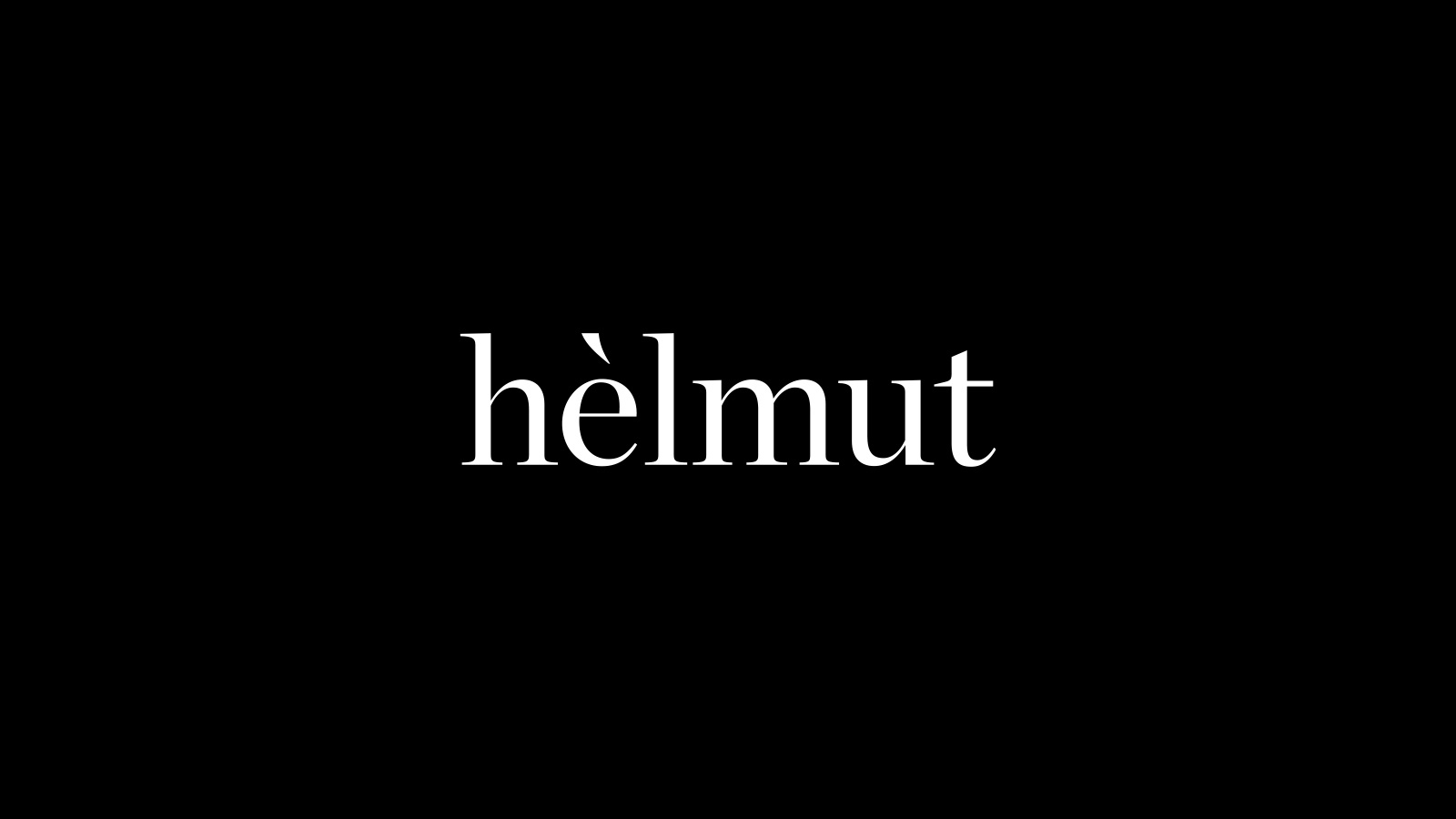 Helmut Salon – white on black elegant identity with accent flick