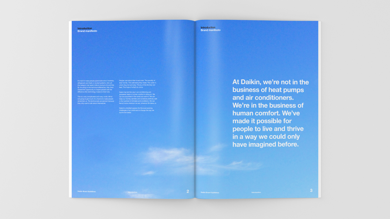 Daikin brand guidelines – introduction set against a clear sky