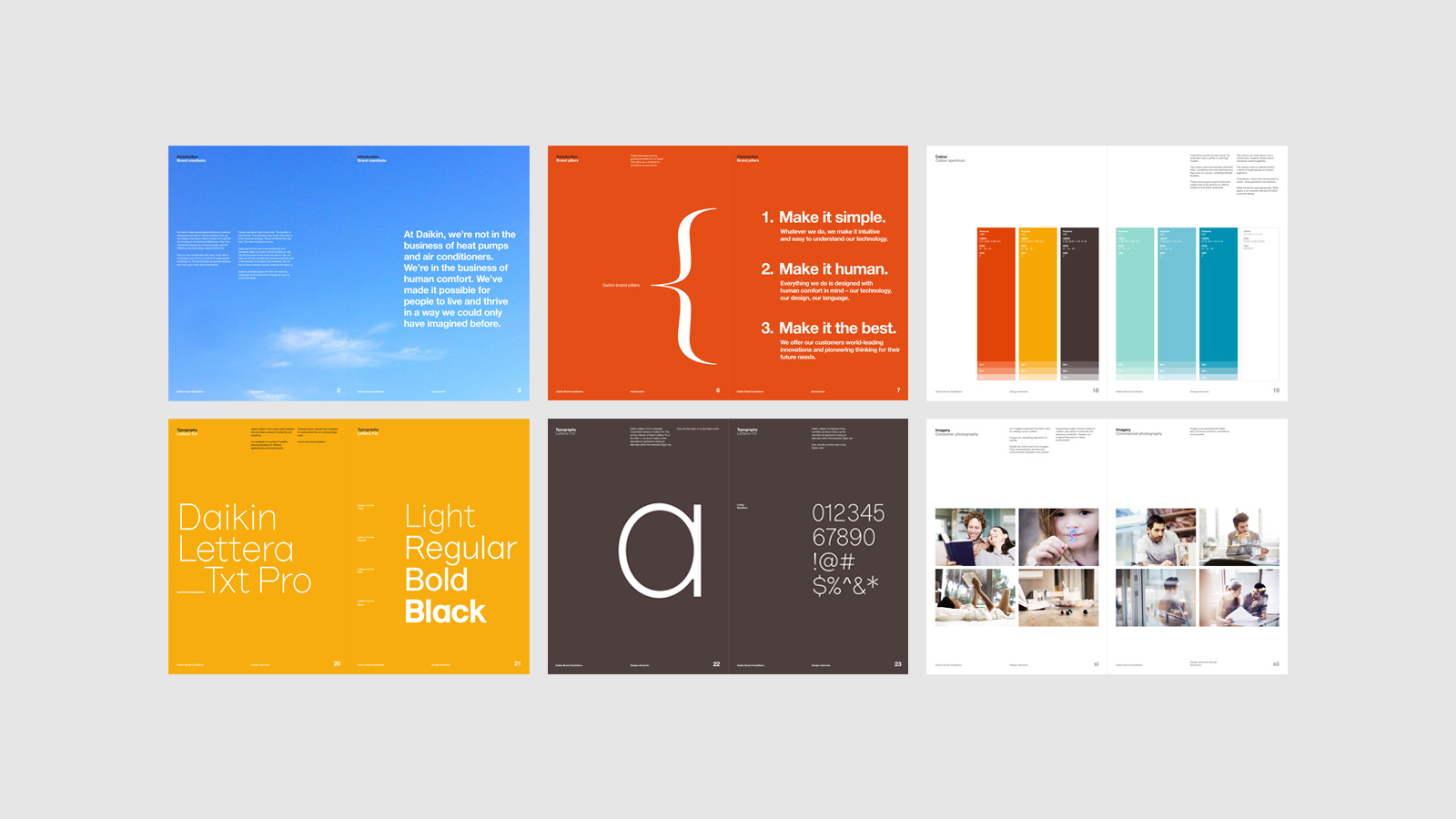 Daikin brand guidelines – multiple spreads showing colour, typography and photography