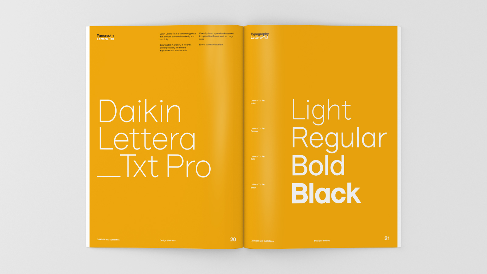 Daikin brand guidelines – new brand typeface examples