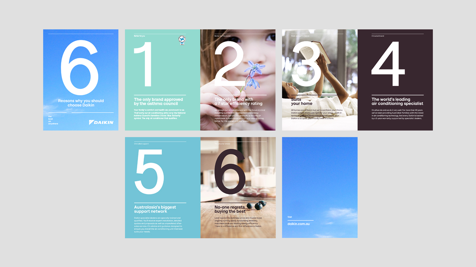 Daikin – 6 Reasons Why Brochure – features fresh, nature-inspired colour palette and emotive imagery