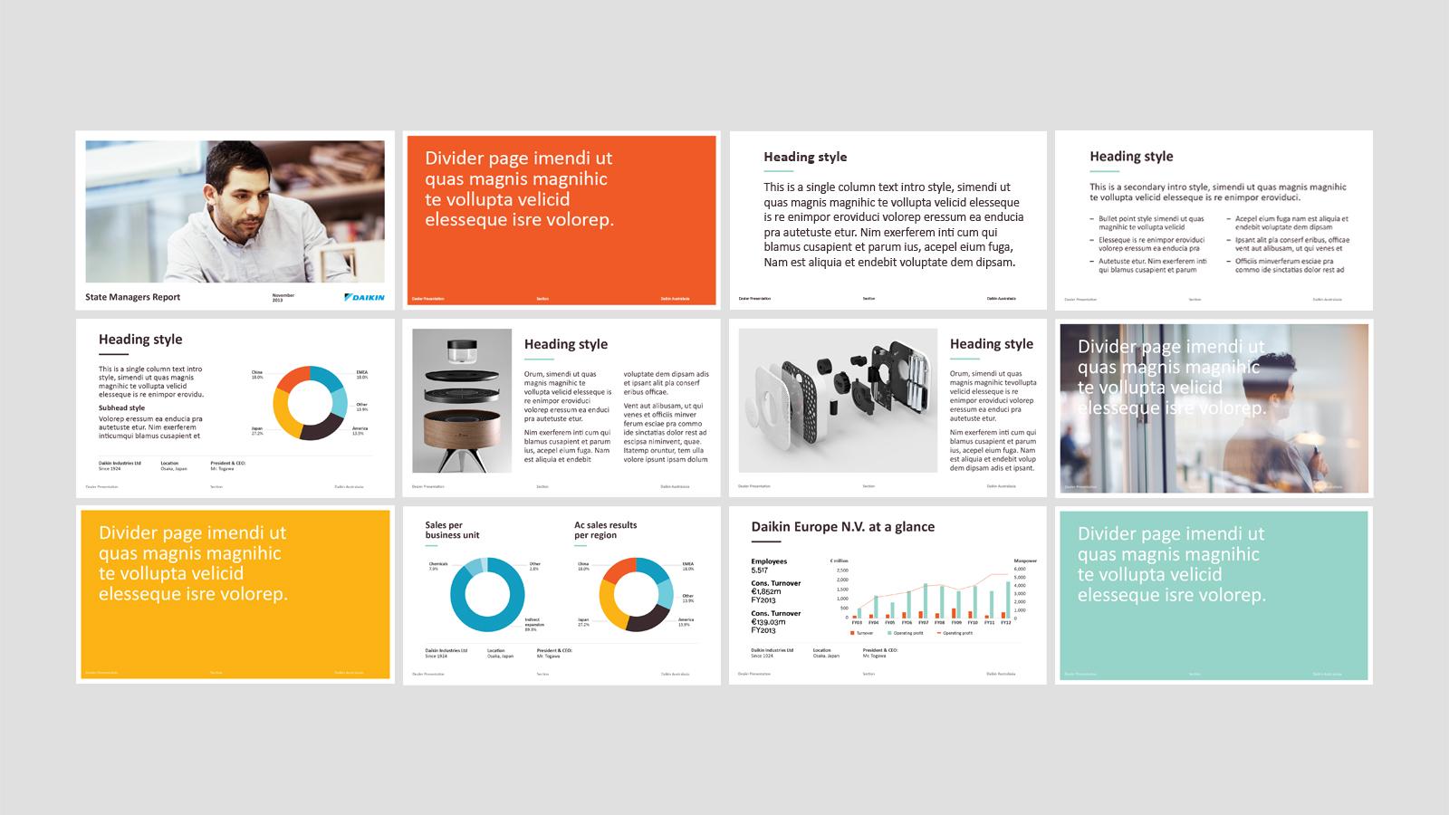 Daikin Powerpoint Templates – features fresh colour palette, new brand imagery and typography