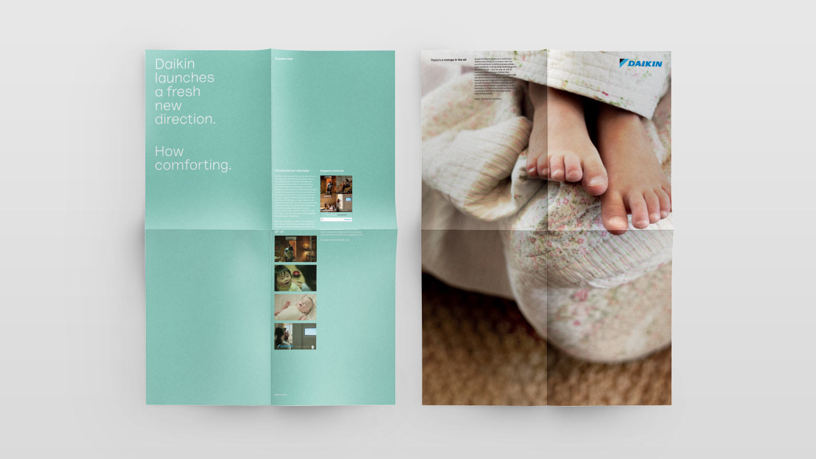 Daikin – Trade Presenter for TVC – features stills on aqua background from new colour palette and emotive imagery