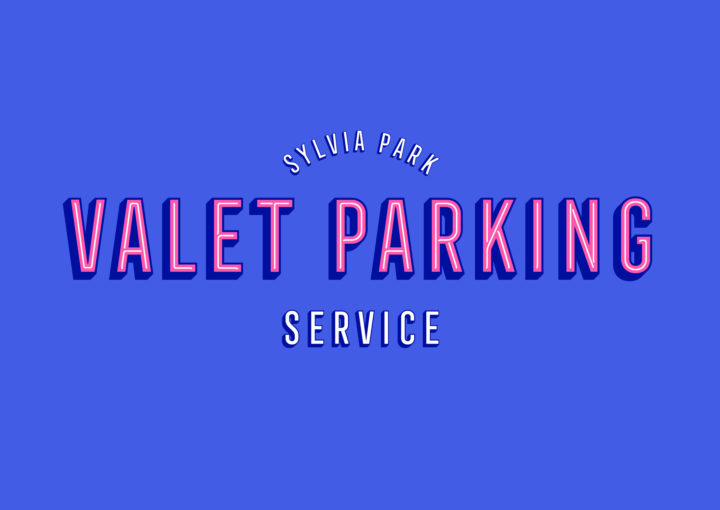 Retro themed identity for Sylvia Park Valet Parking Experience featuring Neon style lettering