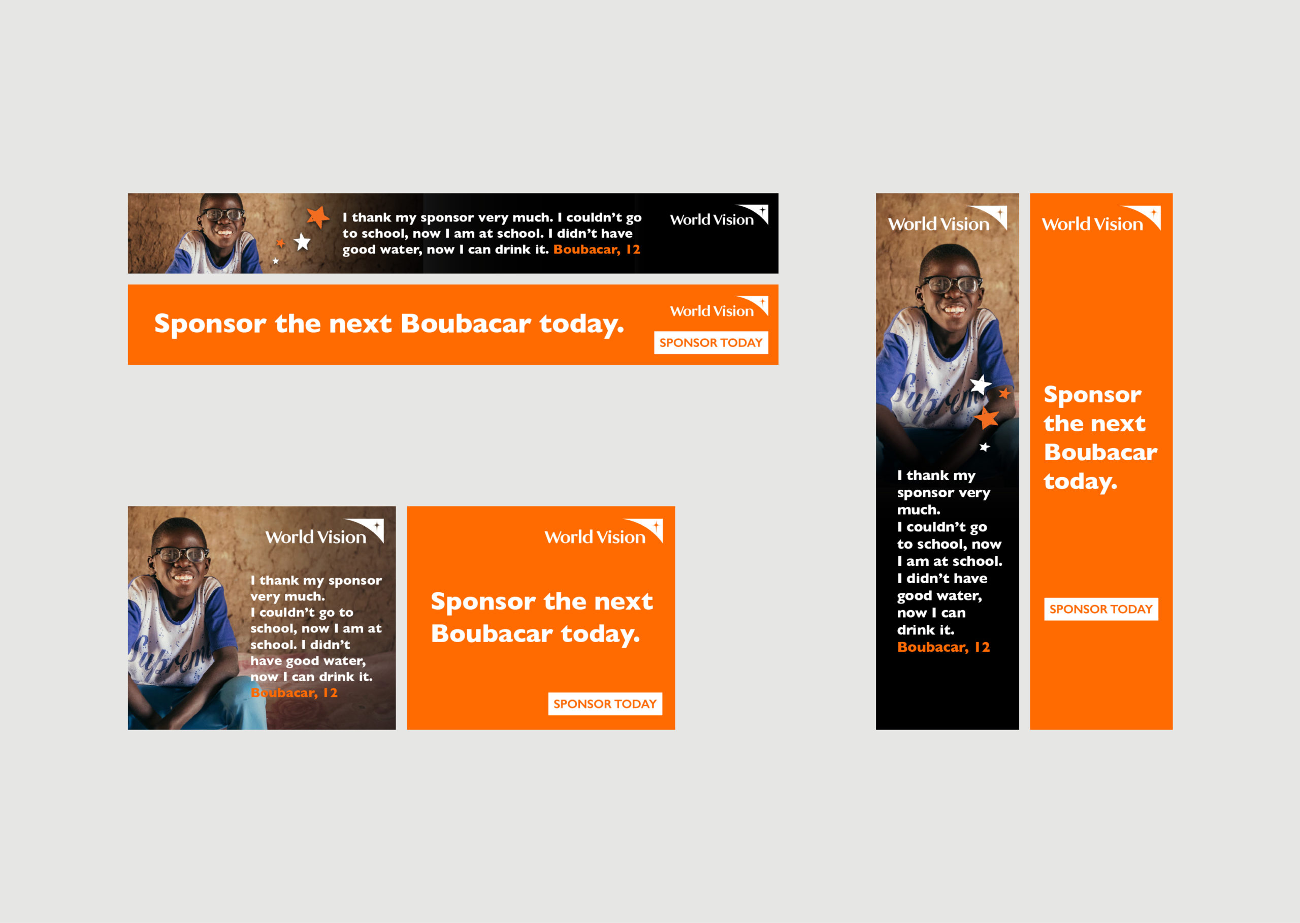 World Vision Digital Ads showing smiling child portrait and quote