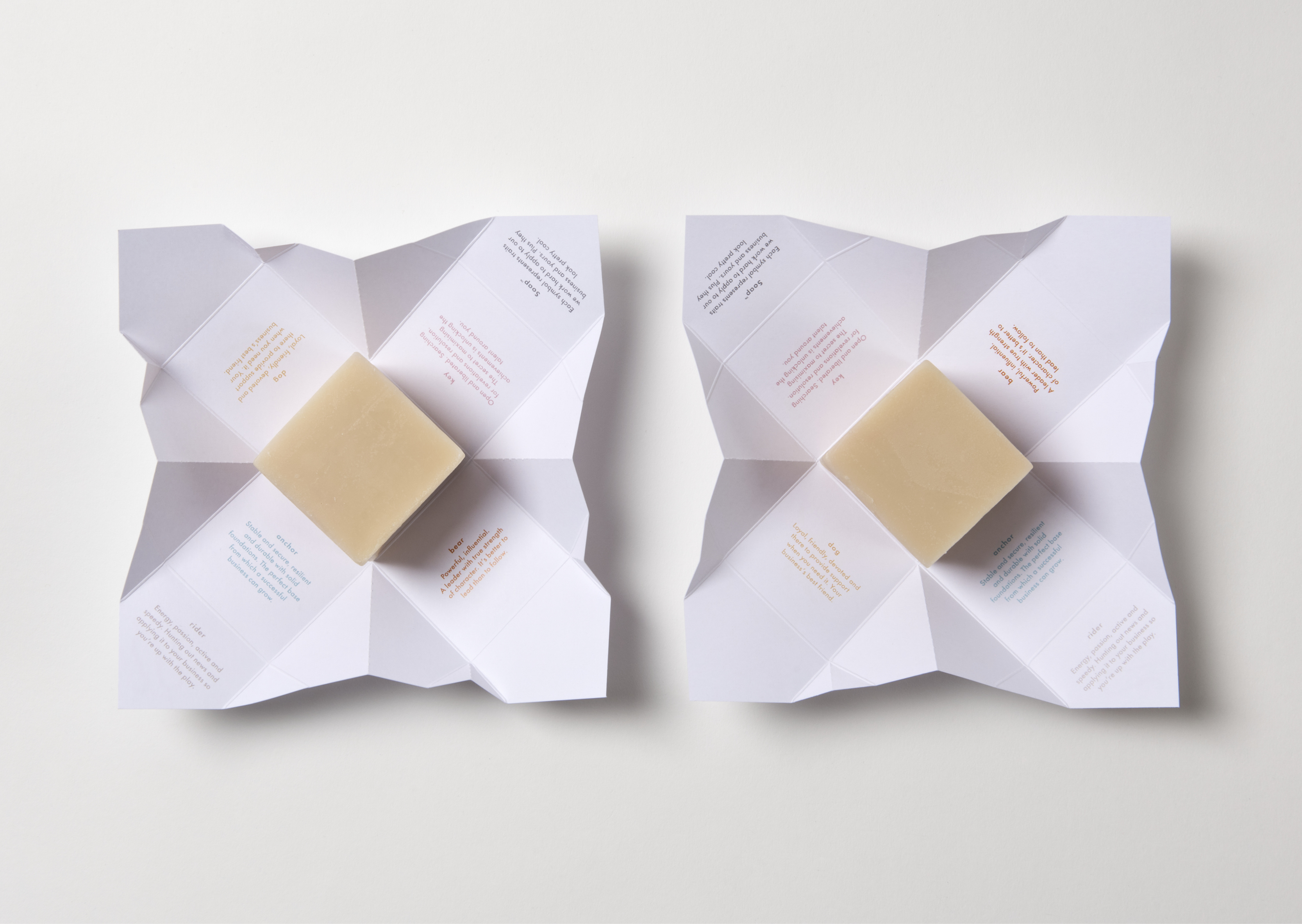 Open Origami Folded Packaging showing soap inside