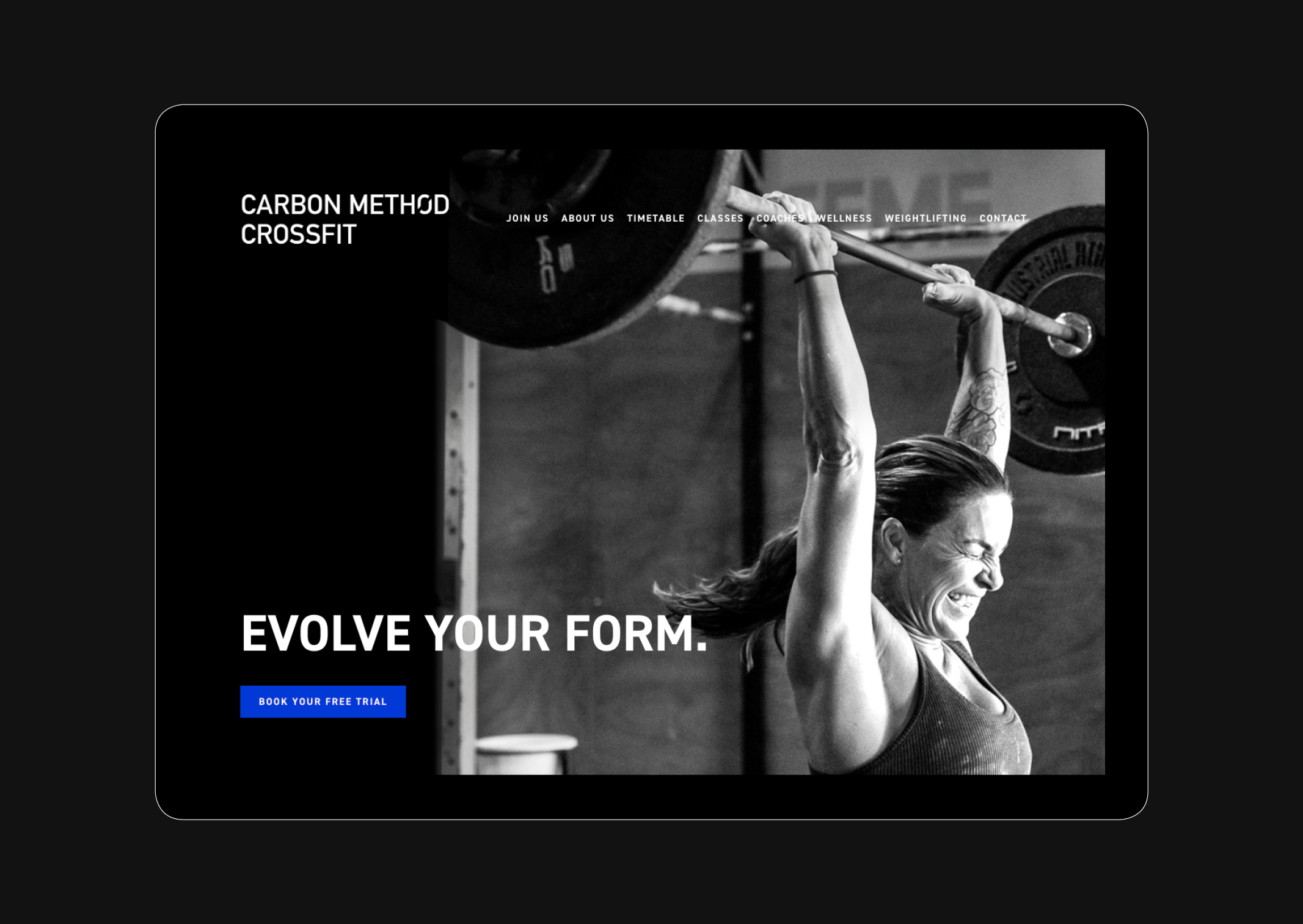 Carbon Method CrossFit Website Homepage Branding Identity Weight lifting