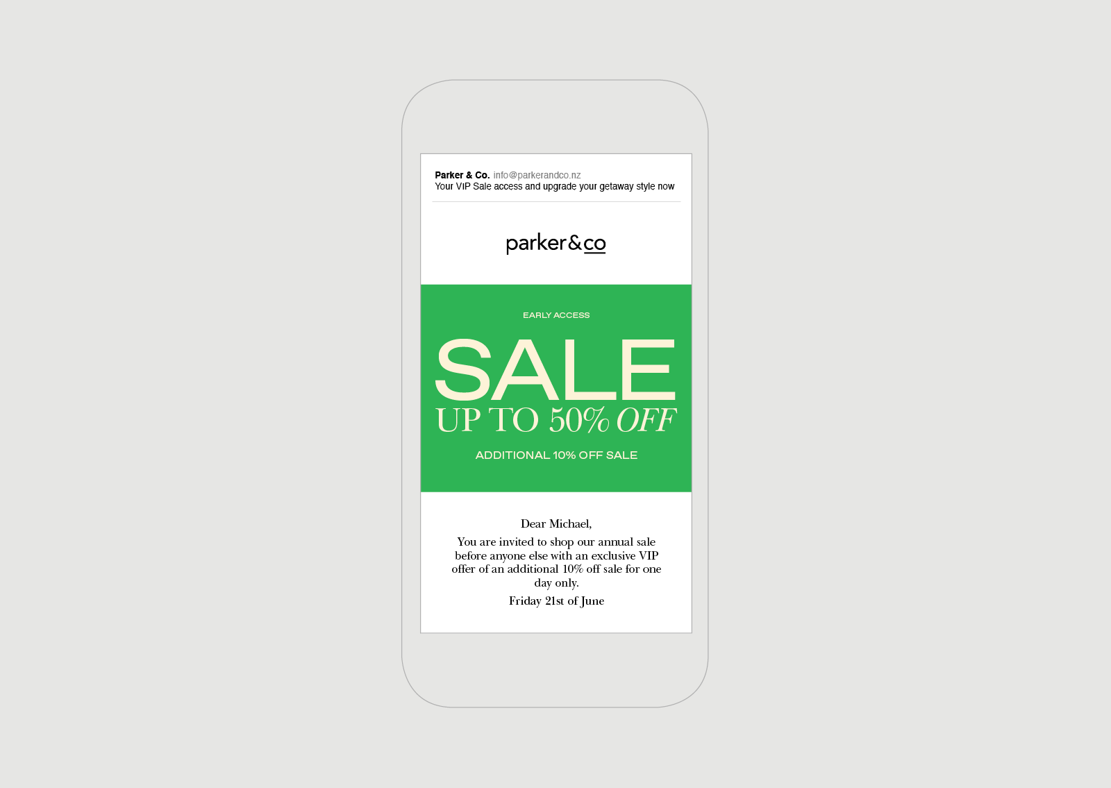 Parker and Co EDM Getaway Sale Campaign 2019 Auckland NZ Retail High fashion