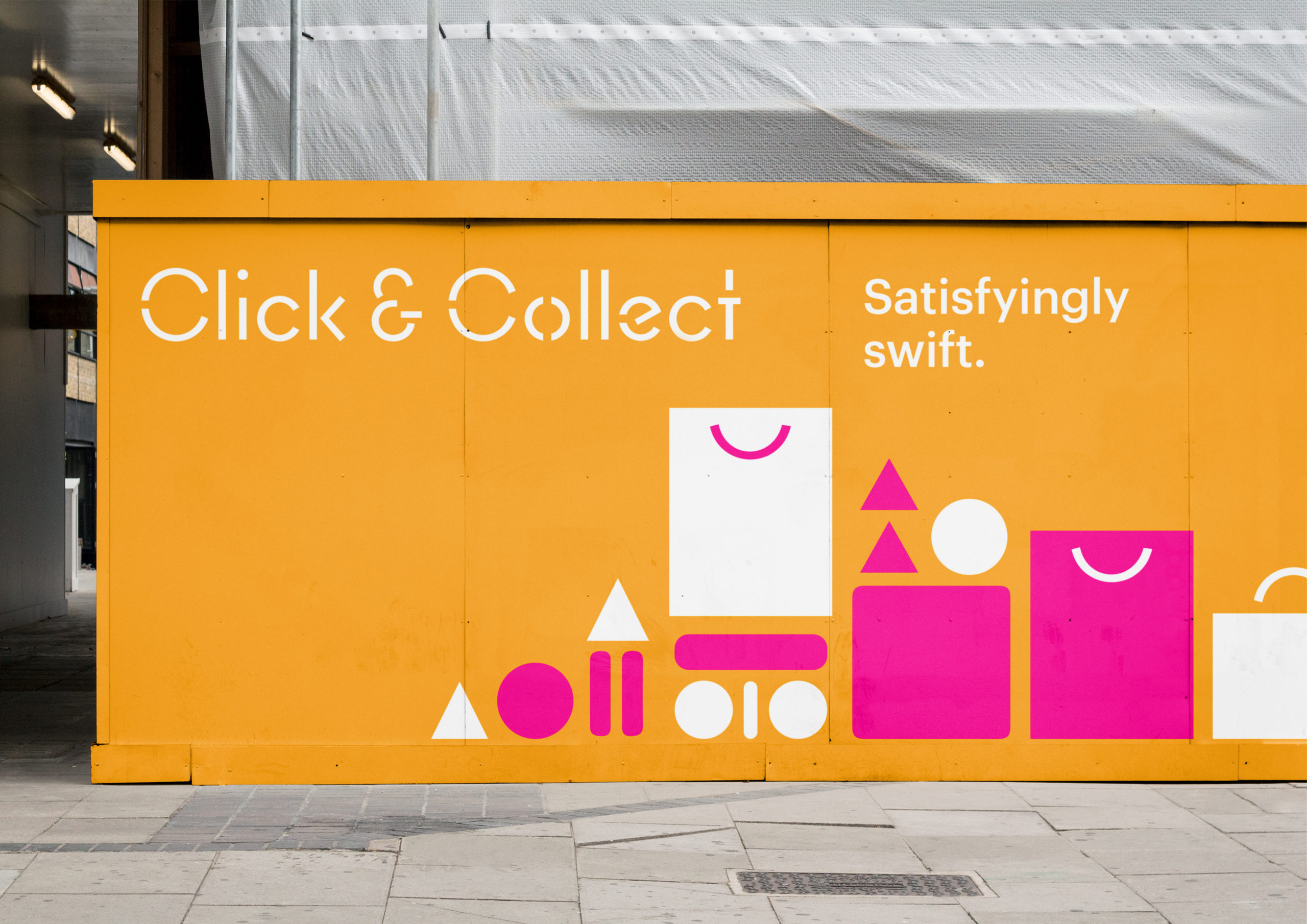 Click & Collect Brand identity showing logo and illustration on Exterior hoarding at Sylvia Park