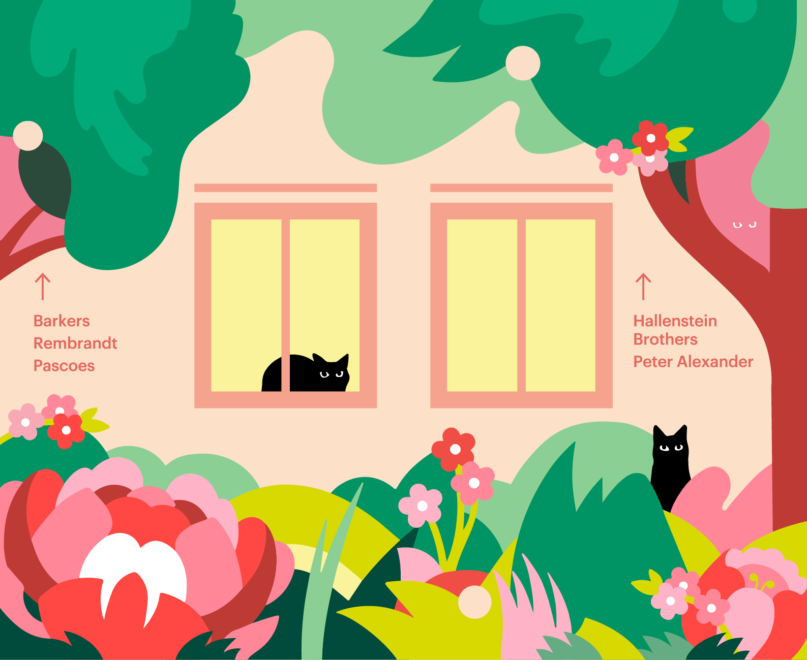 Sylvia Park retail Environmental installation 3D hoarding showing Hello spring Garden Theme Illustration with Cats