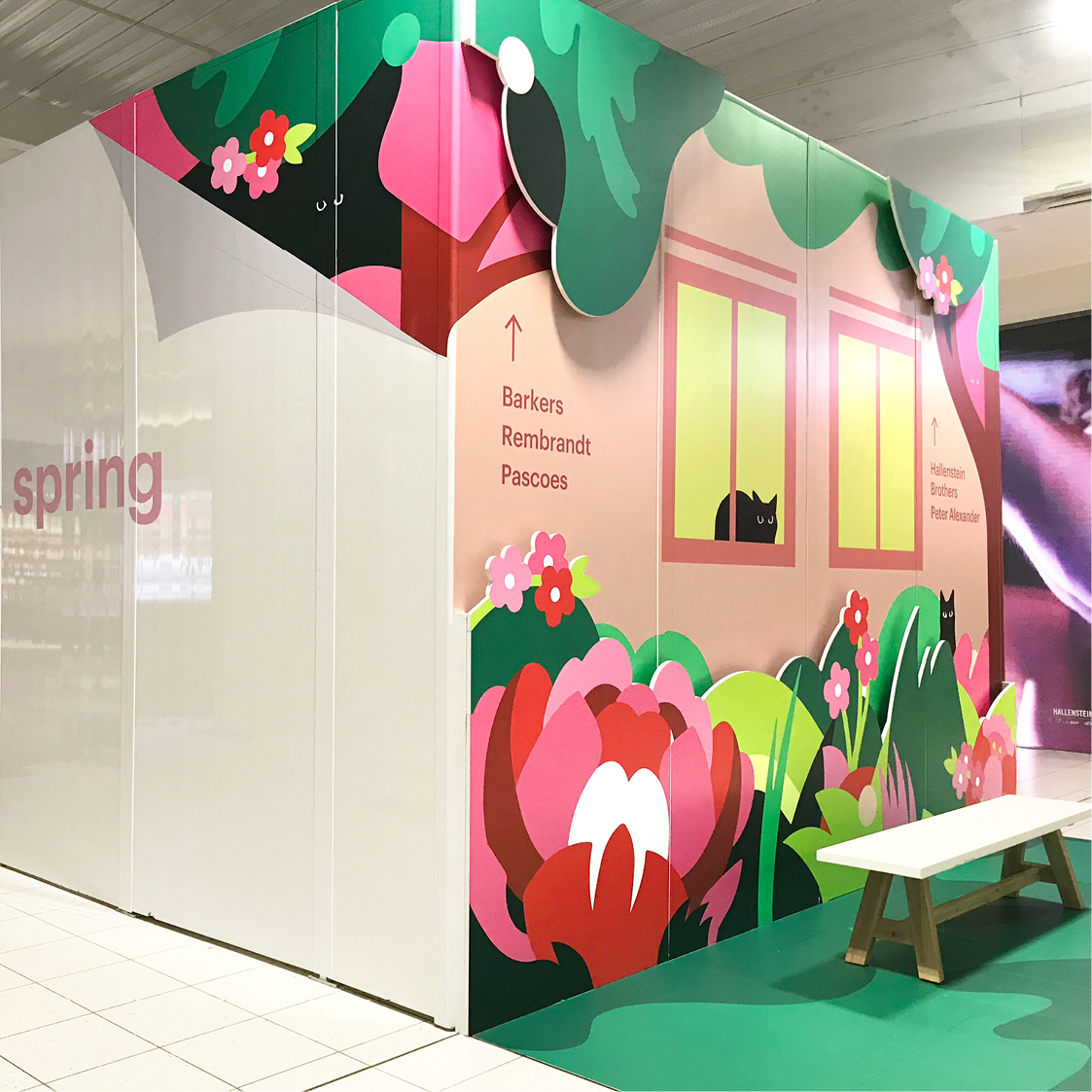 Sylvia Park retail Environmental installation Hello spring Garden theme Illustration corner view showing bench seat