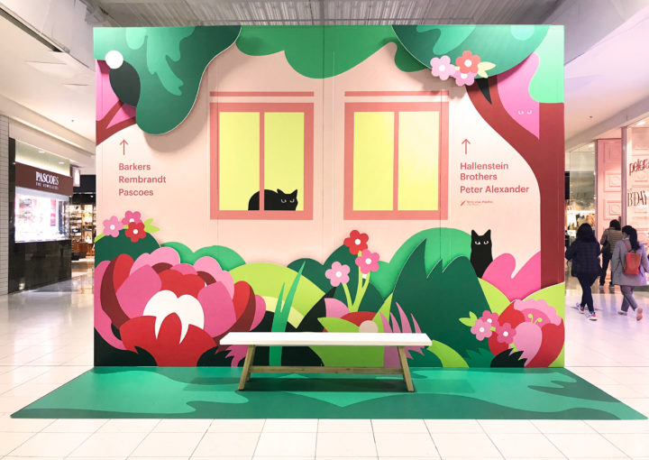 Sylvia Park retail Environmental installation Hello spring Garden theme cat bench seat in high traffic area of shopping centre