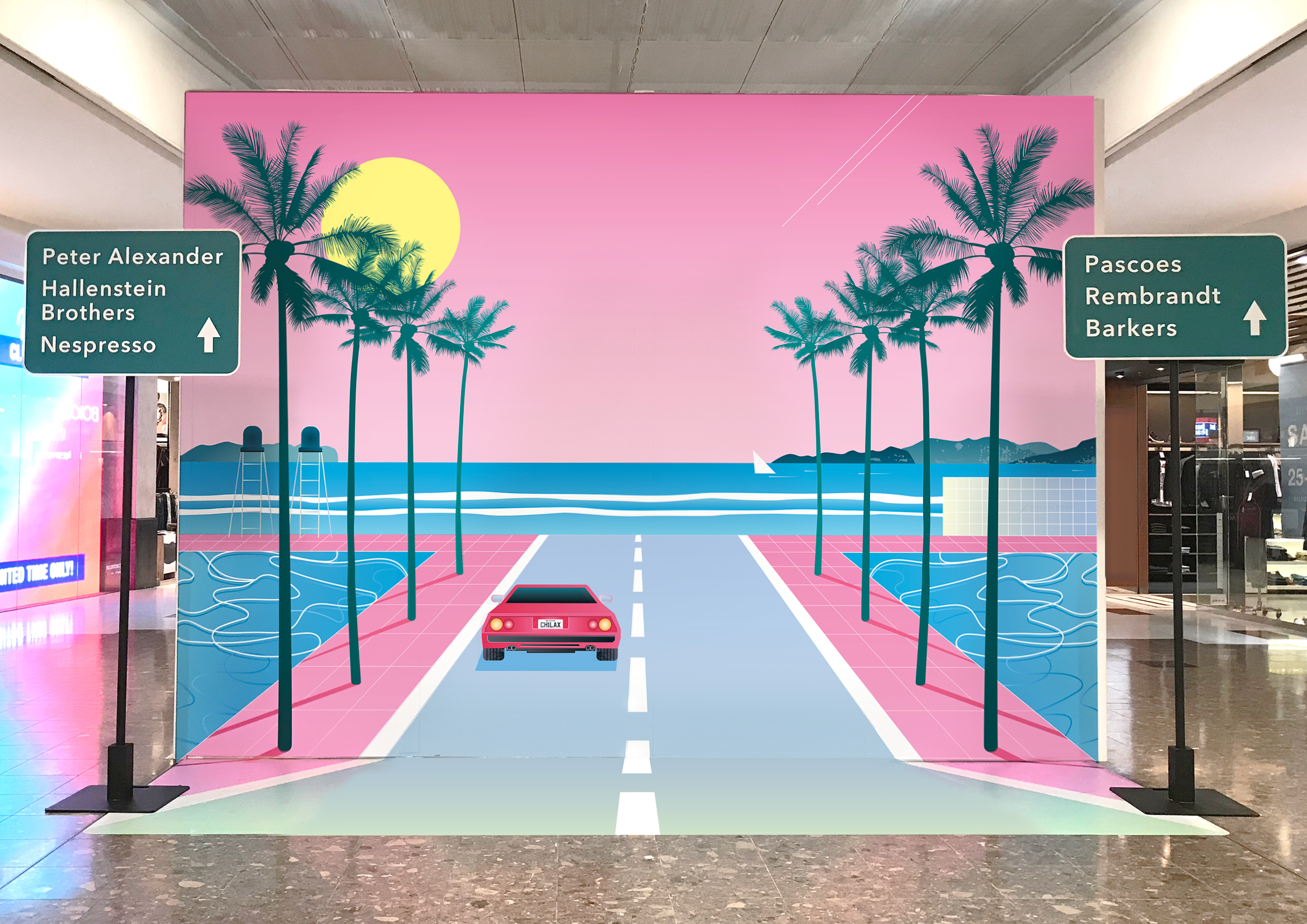 Sylvia Park Environment Installation Graphics 3d Installation Retail Miami sunset beach car in high traffic area of shopping centre