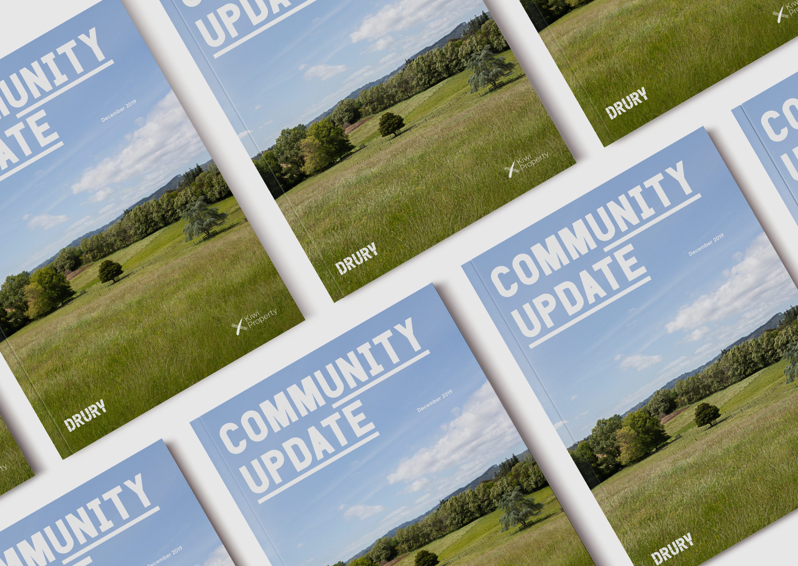 A multiple layout of Drury community development communications Brochure covers, all featuring idyllic green pasture