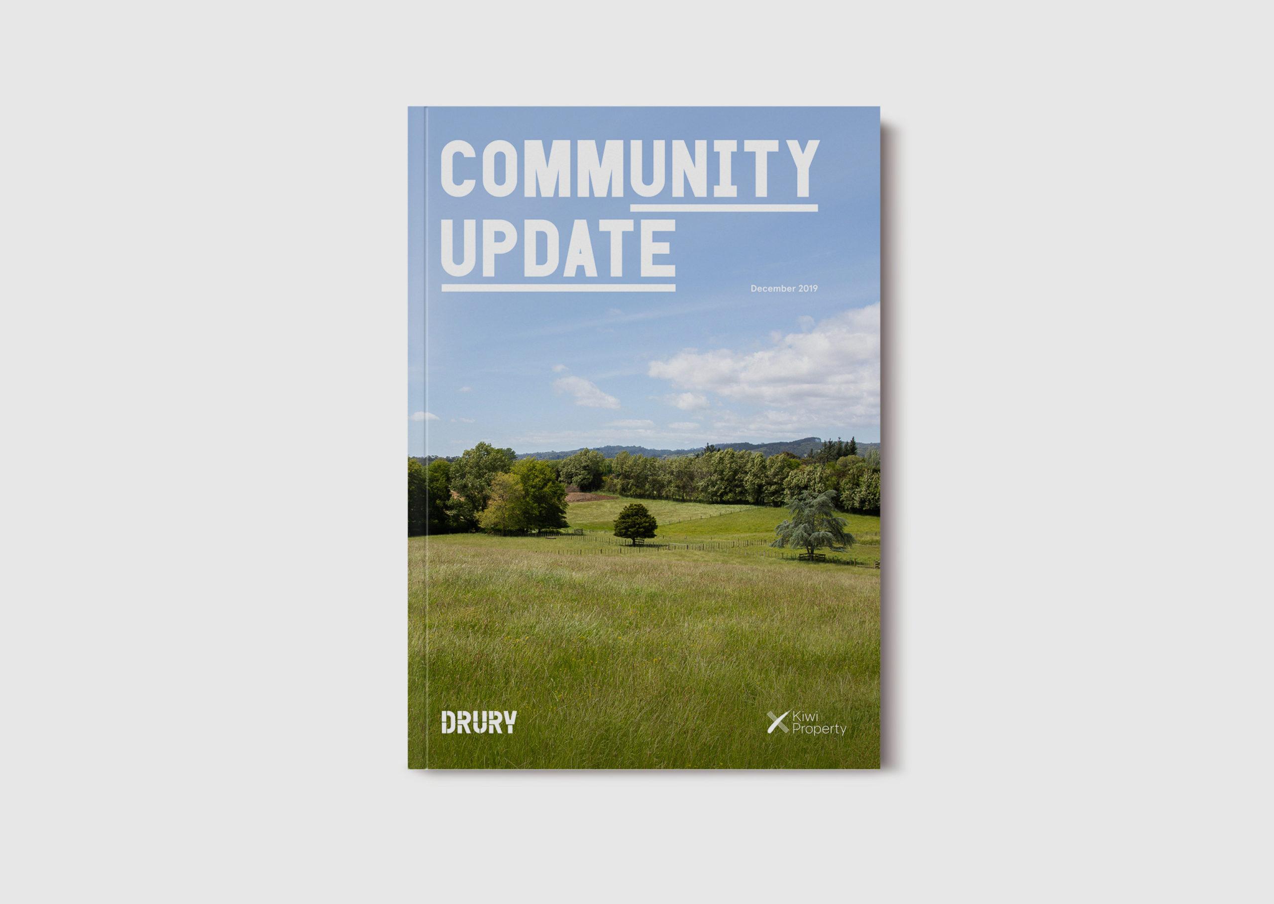 Drury development communications Community Update Brochure cover showing idyllic pasture