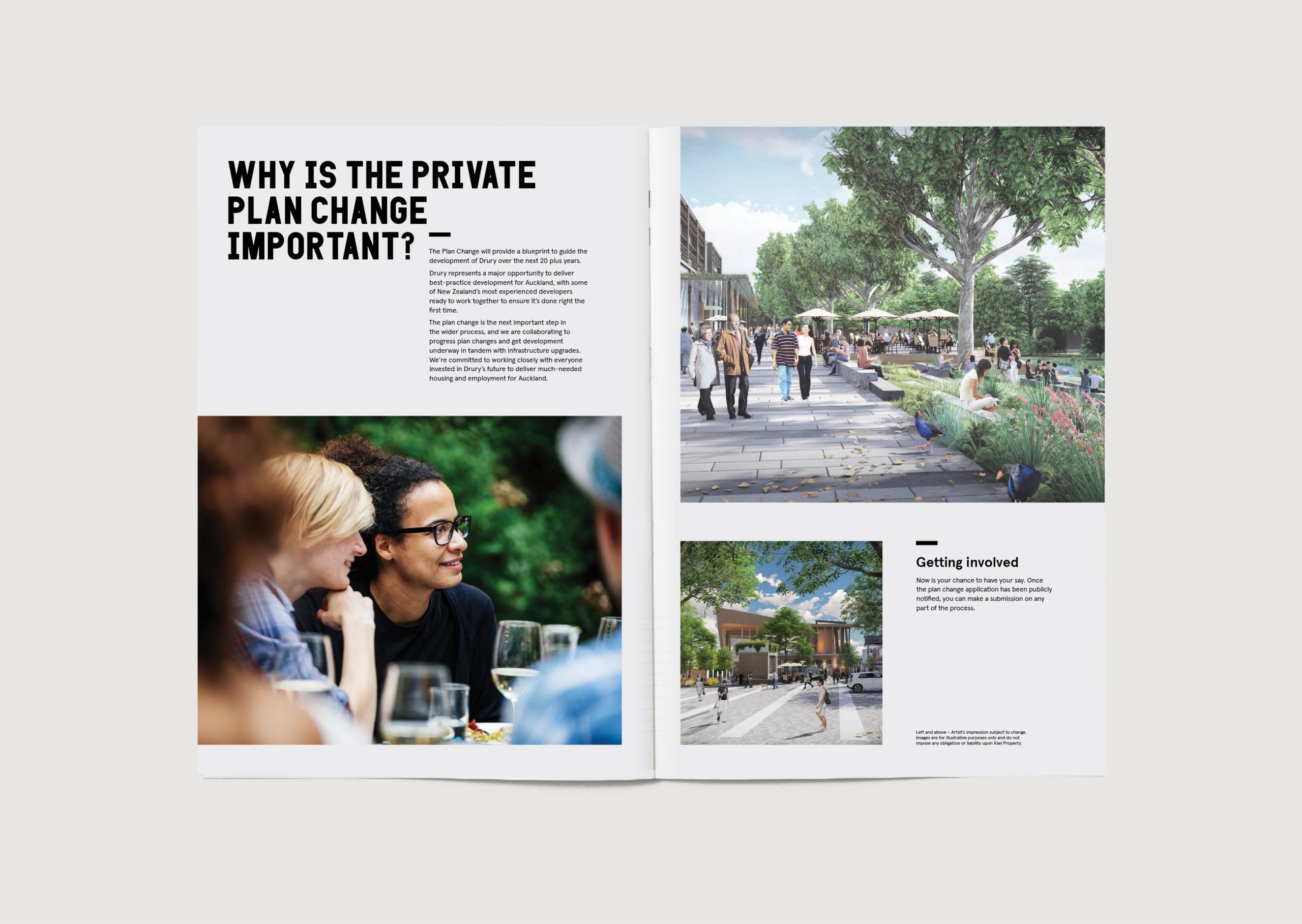 Drury Development Communication Community Update Brochure spread showing future outdoor development render