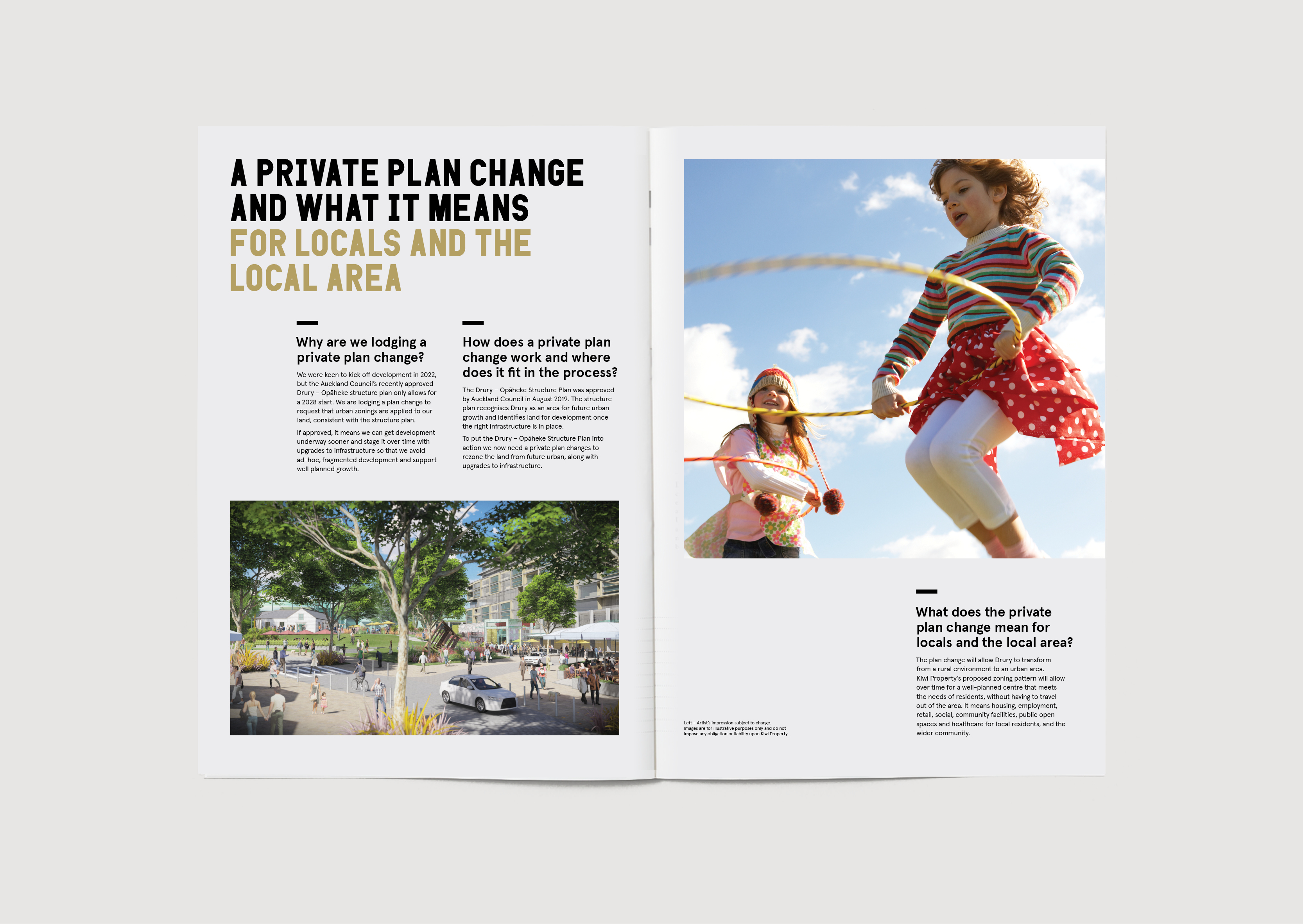 Drury Kiwi Property Community Update Brochure spread showing future town centre render girls skipping with hula hoops