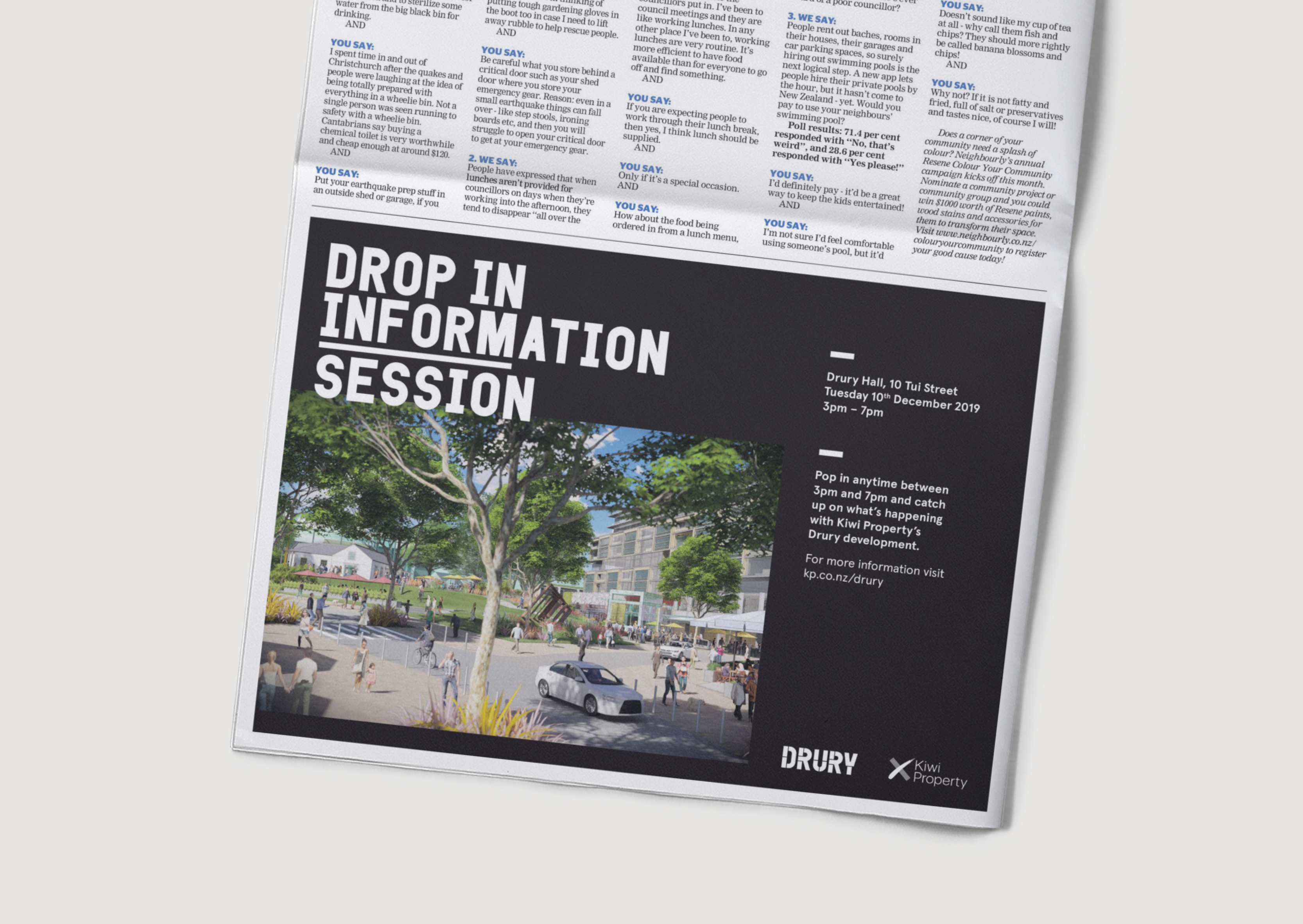 Impactful newspaper advertisement for Drury Community Update with black background and white capitilaised headline and future town centre render