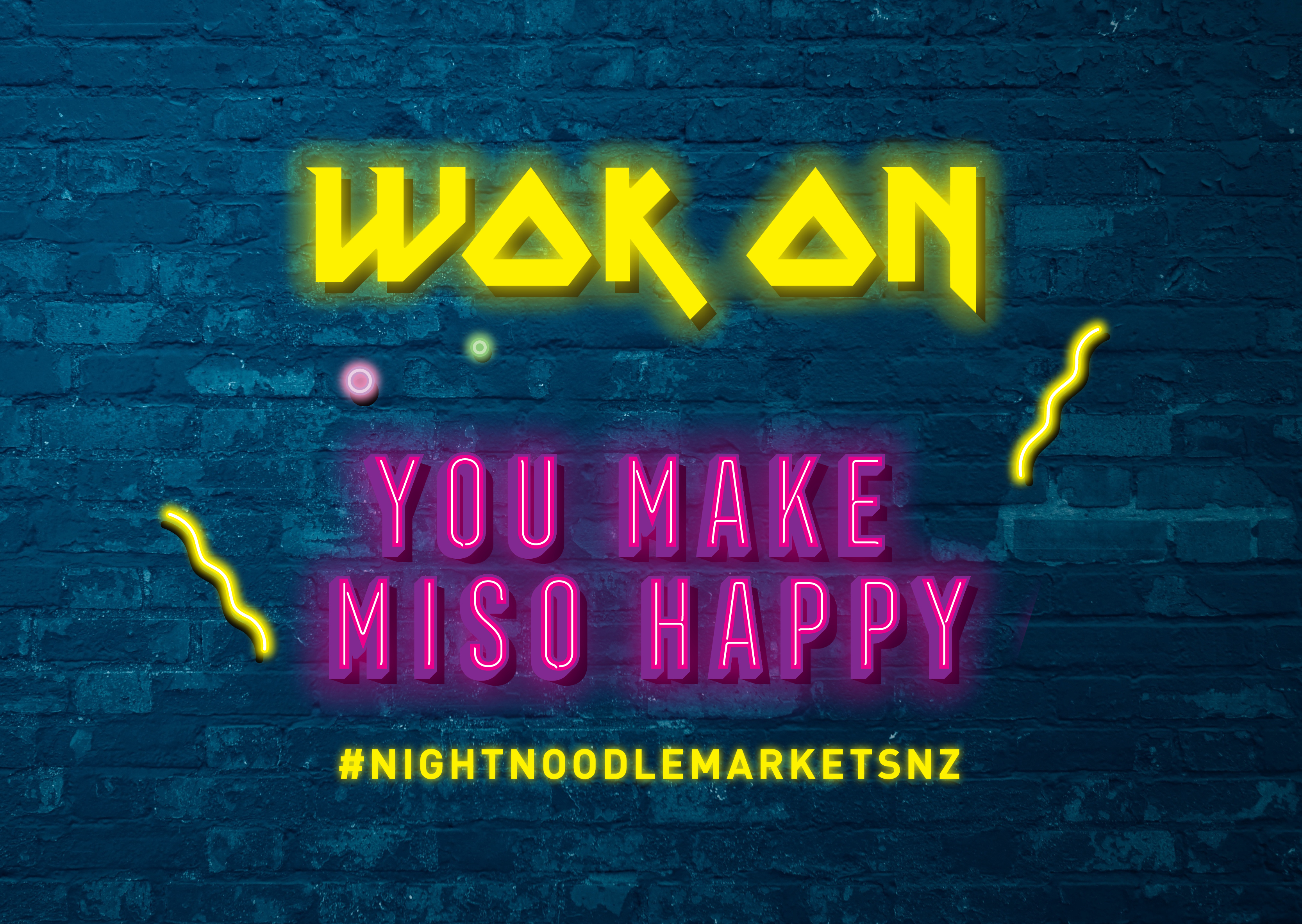 Detail of Experiential wall Night Noodle Markets neon style sign – Wok on