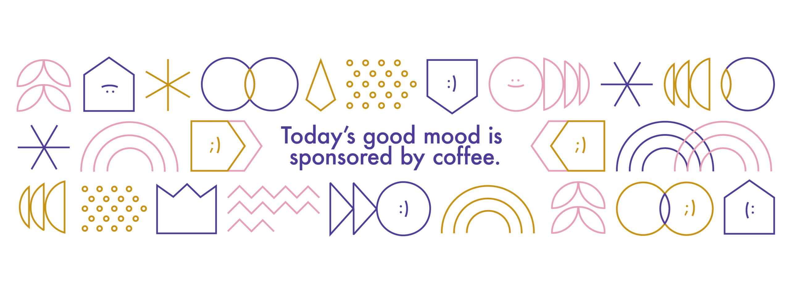 Large Scale graphics illustrating a fun quote: today's good mood is sponsored by coffee and a playful illustrative graphics on Sylvia Park Shopping Centre carpark wall