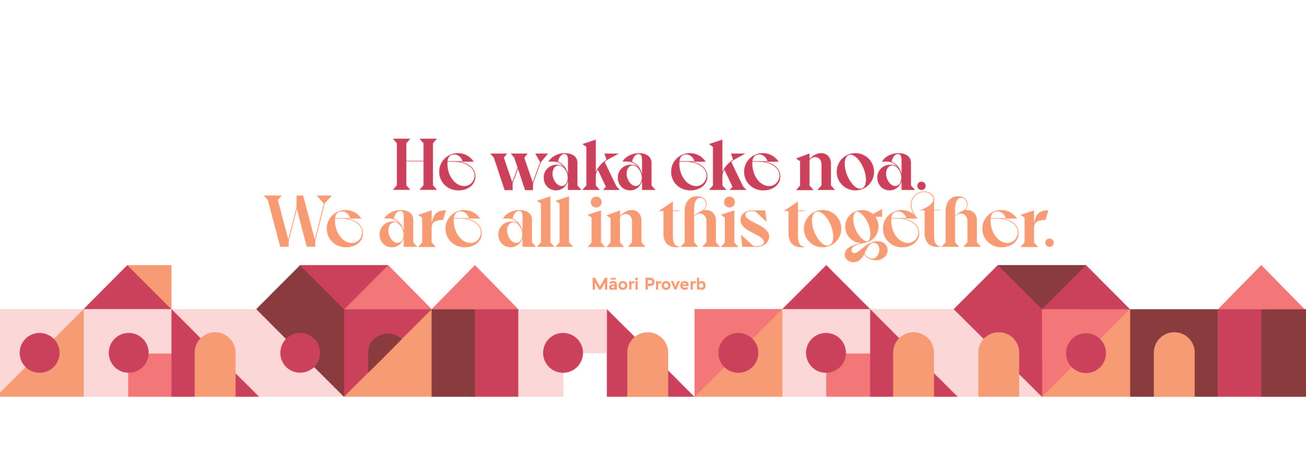 Large Scale graphics illustrating Maori Proverb He Waka eke noa – we're all in this together – and a playful townscape illustration on Sylvia Park Shopping Centre carpark wall