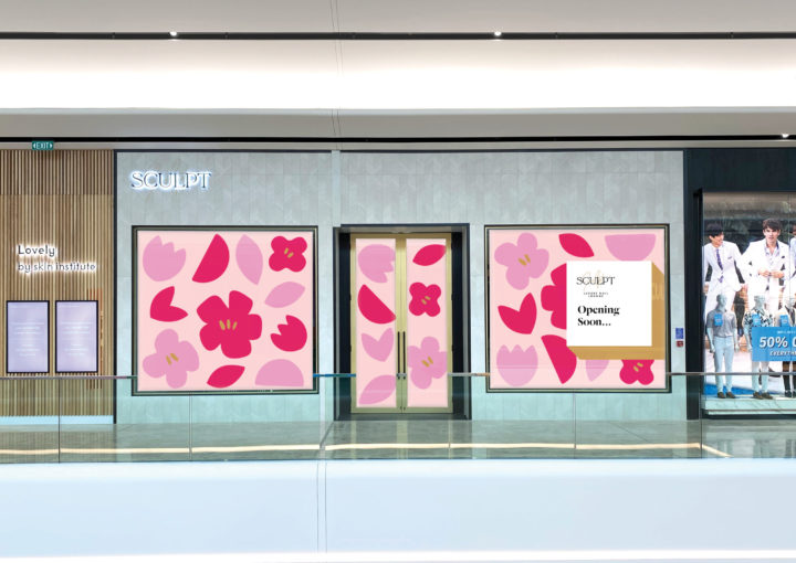 Large scale retail graphics at Sylvia Park Level 1 Launch featuring an eye-catching pink and magenta flowers