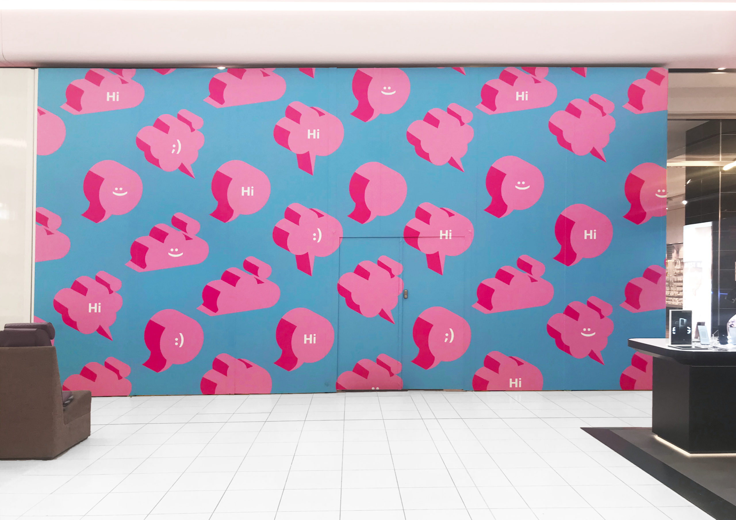Large scale retail graphics at Sylvia Park Level 1 Launch featuring multiple 3D speech bubbles with smiling emojis